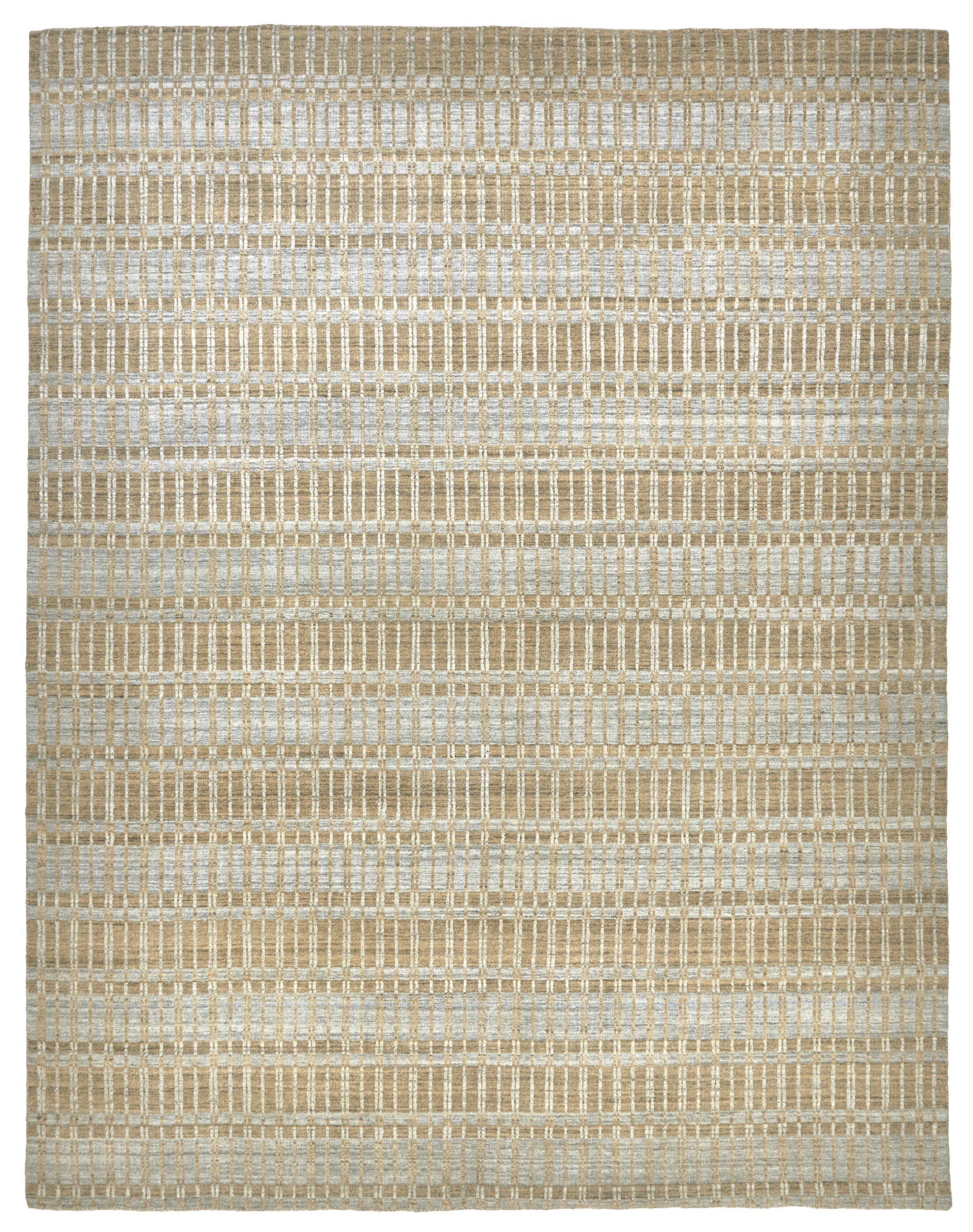 Dellaposta Hand-Woven Tan/Silver Area Rug Rug Size: Rectangle 5' x 7'6