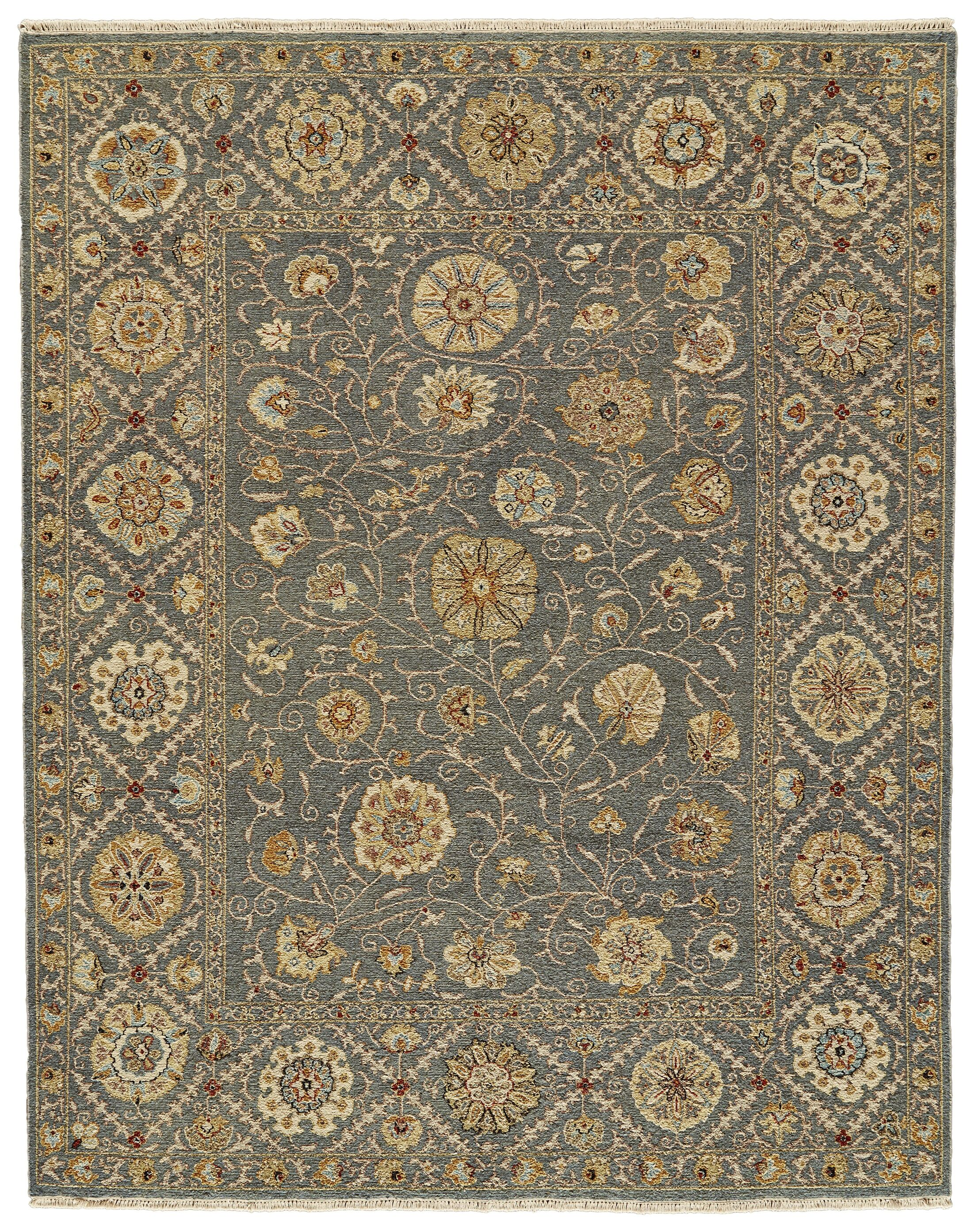 Kondo Hand-Knotted Wool Blue Area Rug Rug Size: Rectangle 5'6