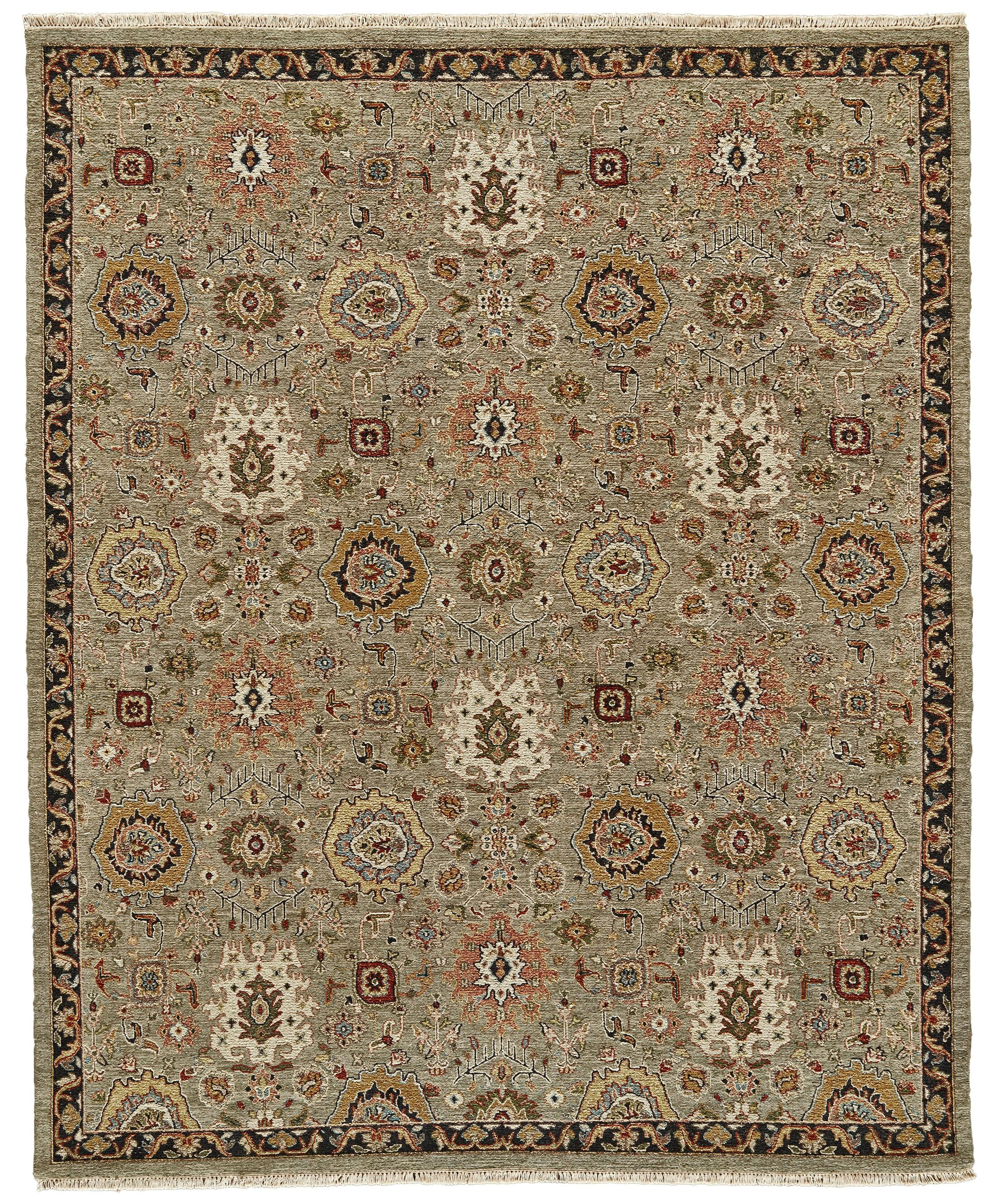 Kondo Hand-Knotted Wool Sage Area Rug Rug Size: Rectangle 2' x 3'