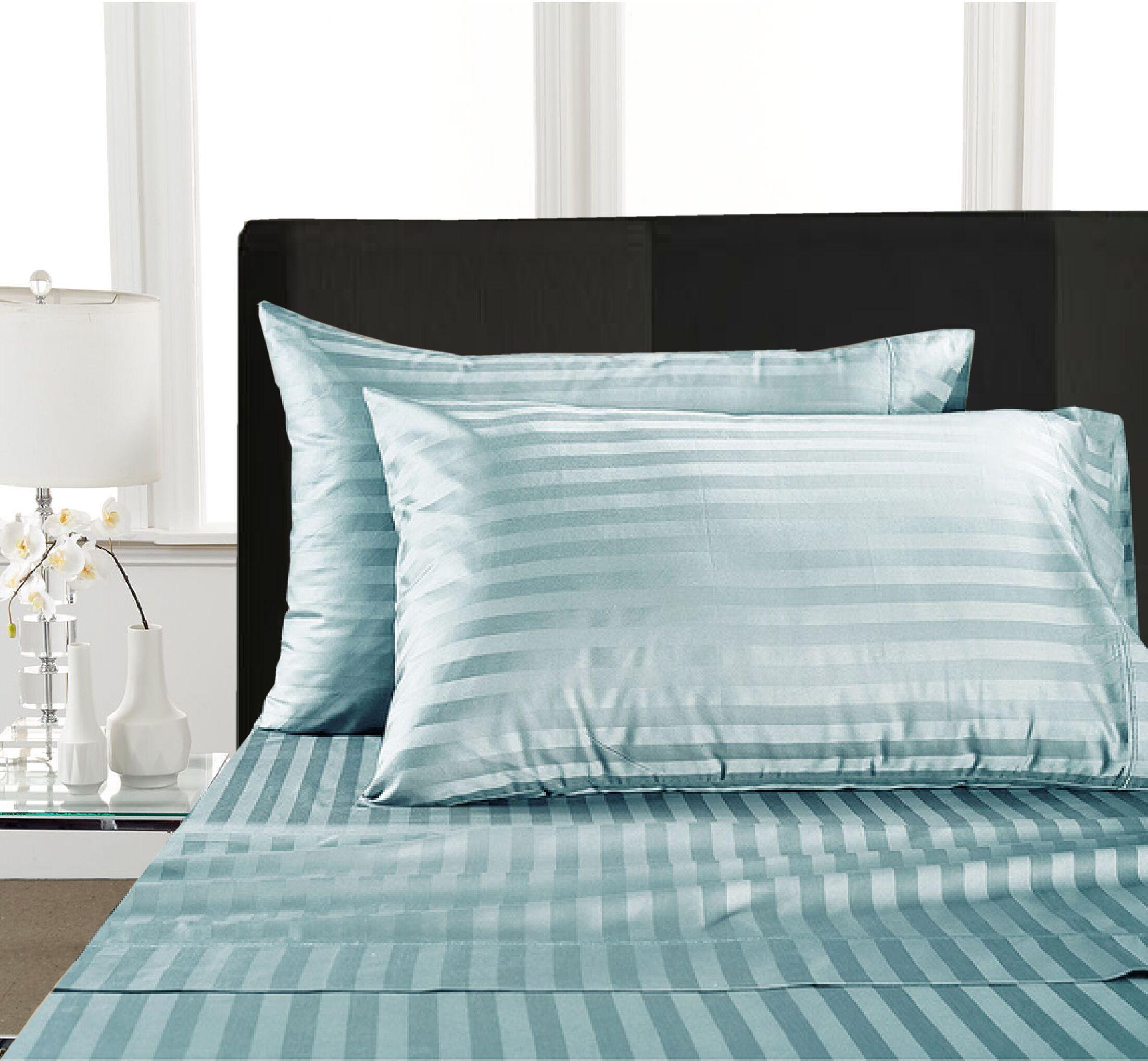 Rosenow Stripe 1000 Thread Count 100% Cotton Sheet Set Size: King, Color: Blue