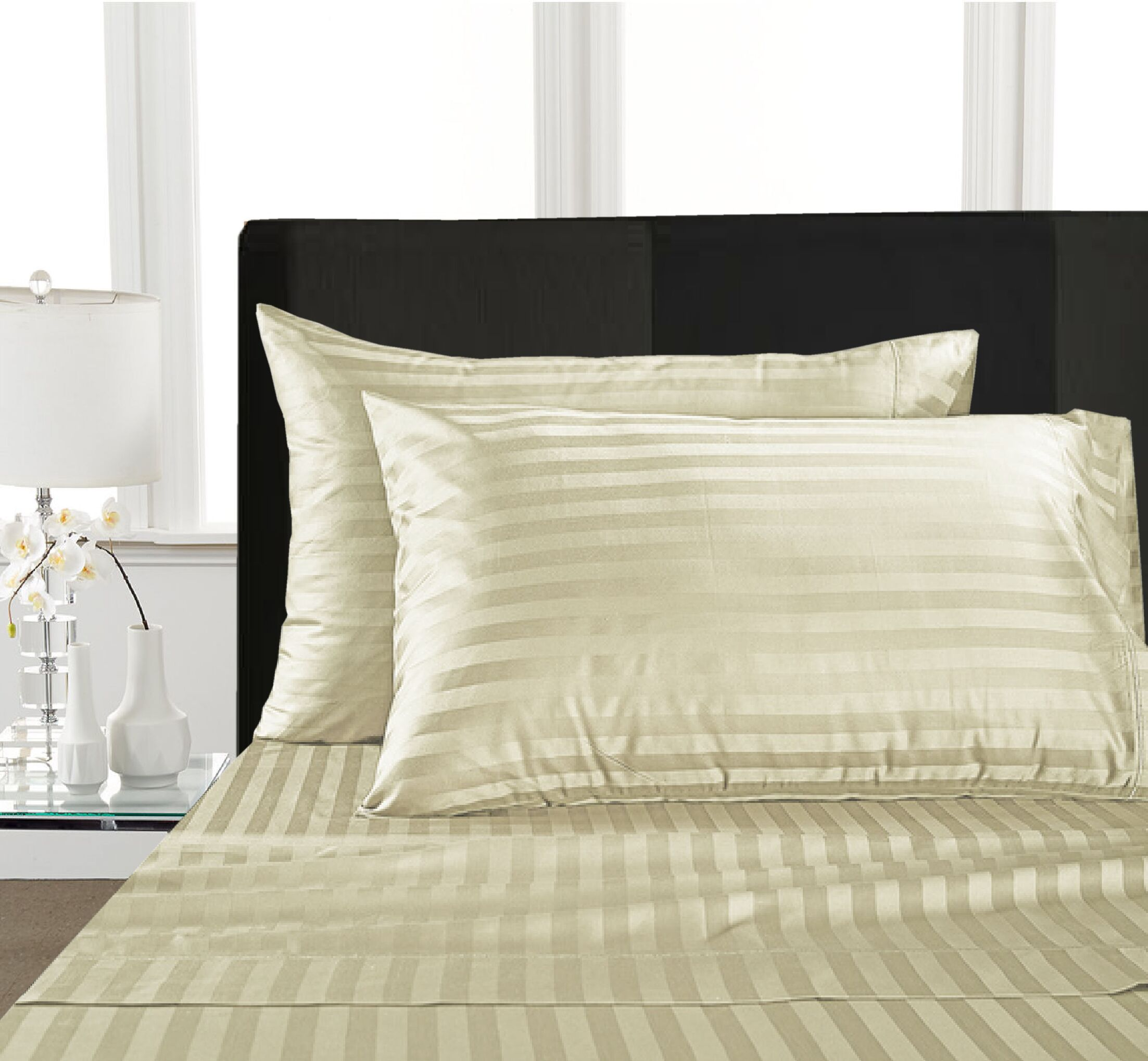 Rosenow Stripe 1000 Thread Count 100% Cotton Sheet Set Size: King, Color: Ivory