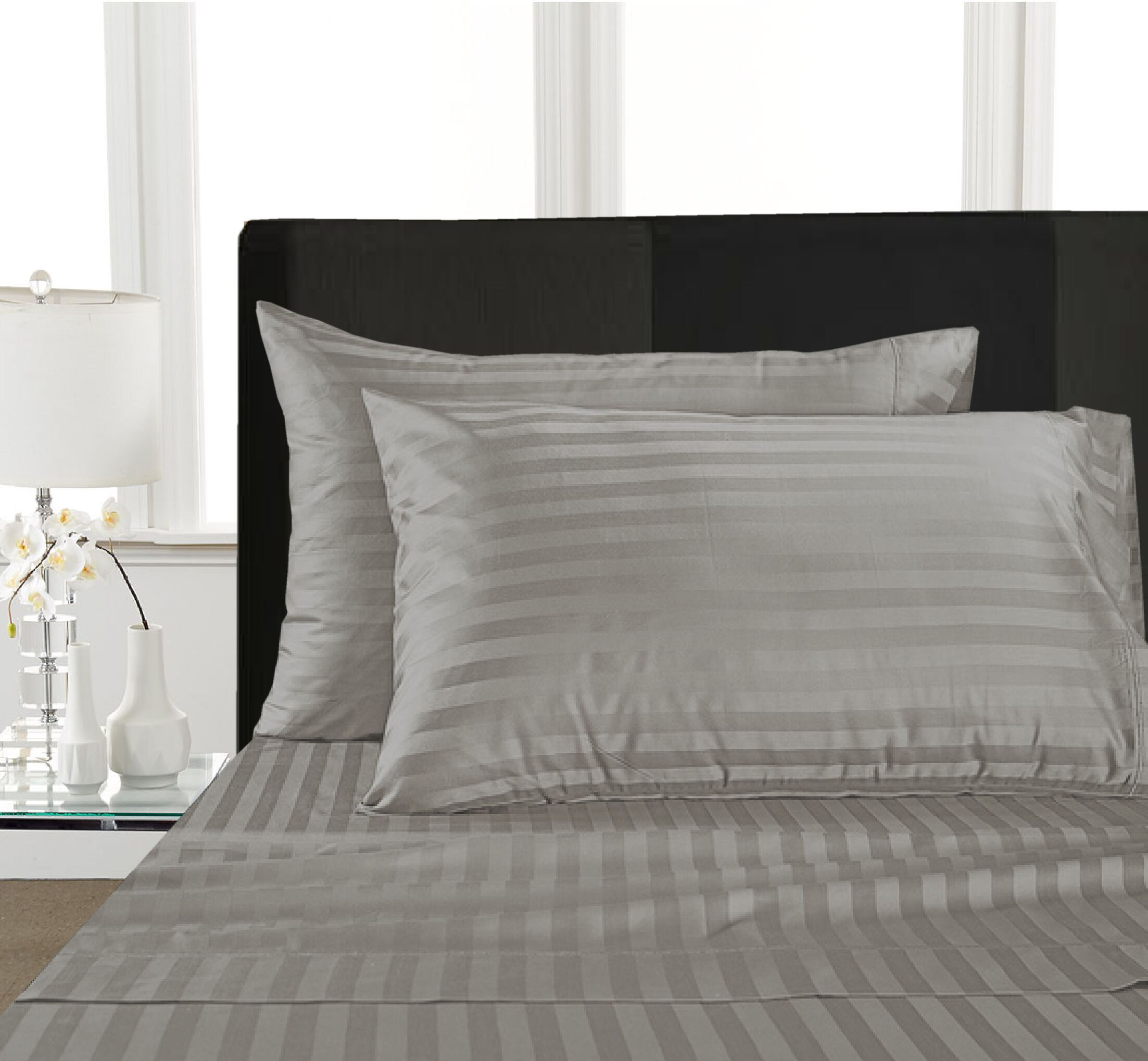 Rosenow Stripe 1000 Thread Count 100% Cotton Sheet Set Color: Silver, Size: Queen