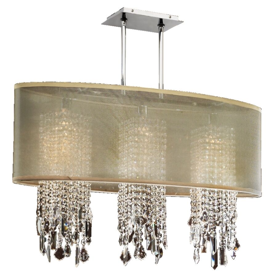 Kenlee 3-Light Crystal Kitchen Island Pendant Shade Color: Taupe