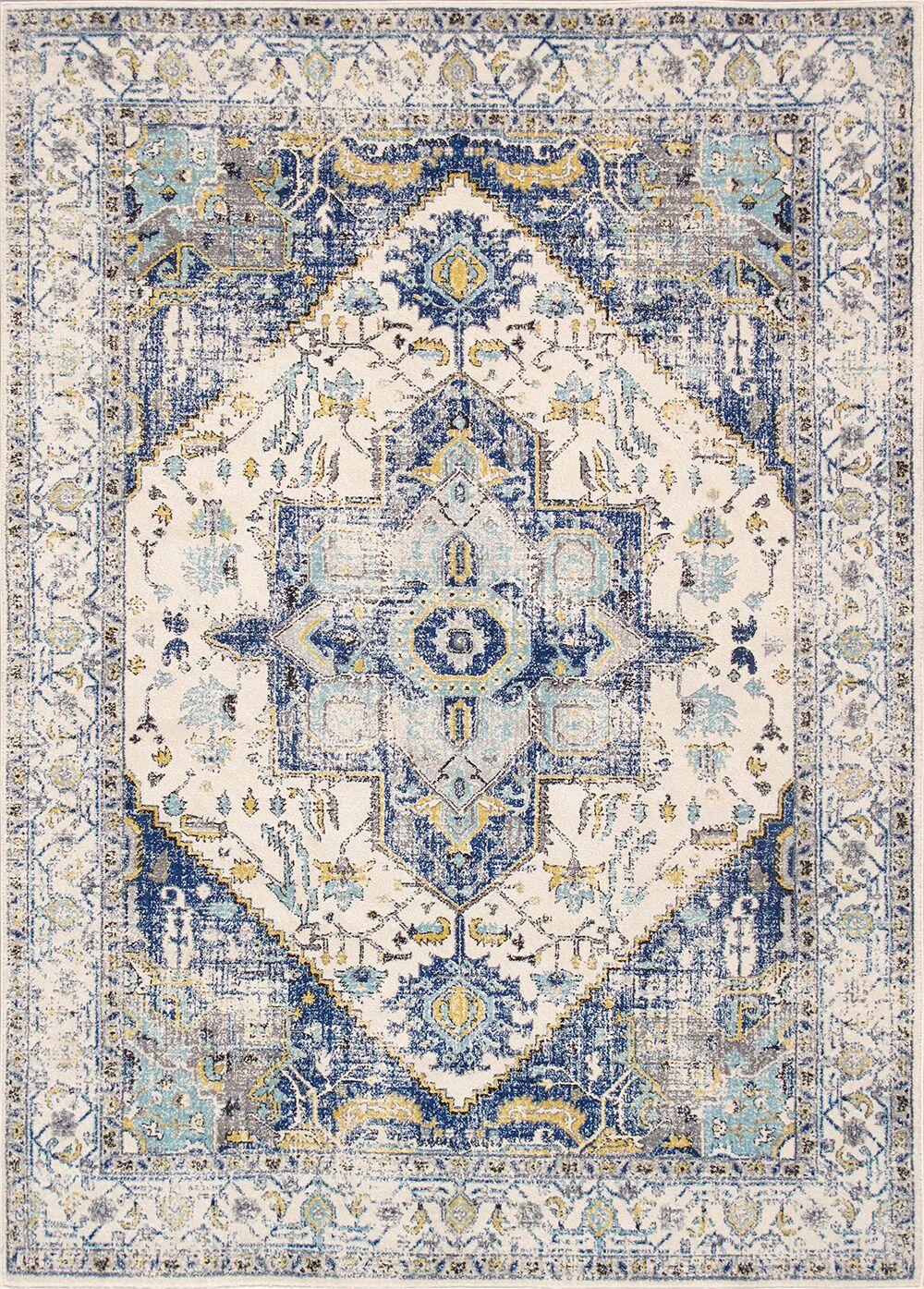 Chelsea Ivory/Blue Area Rug Rug Size: Rectangle 8' x 10'