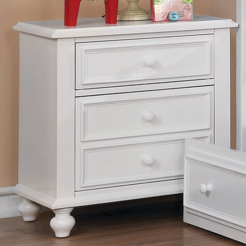Klatt Wooden 3 Drawer Nightstand Color: White