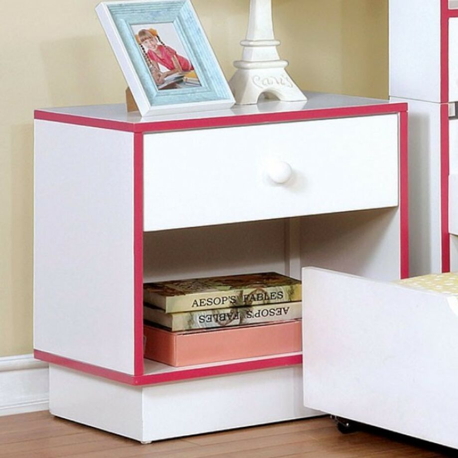 Fogelson Wooden 1 Drawer Nightstand Color: White/Pink
