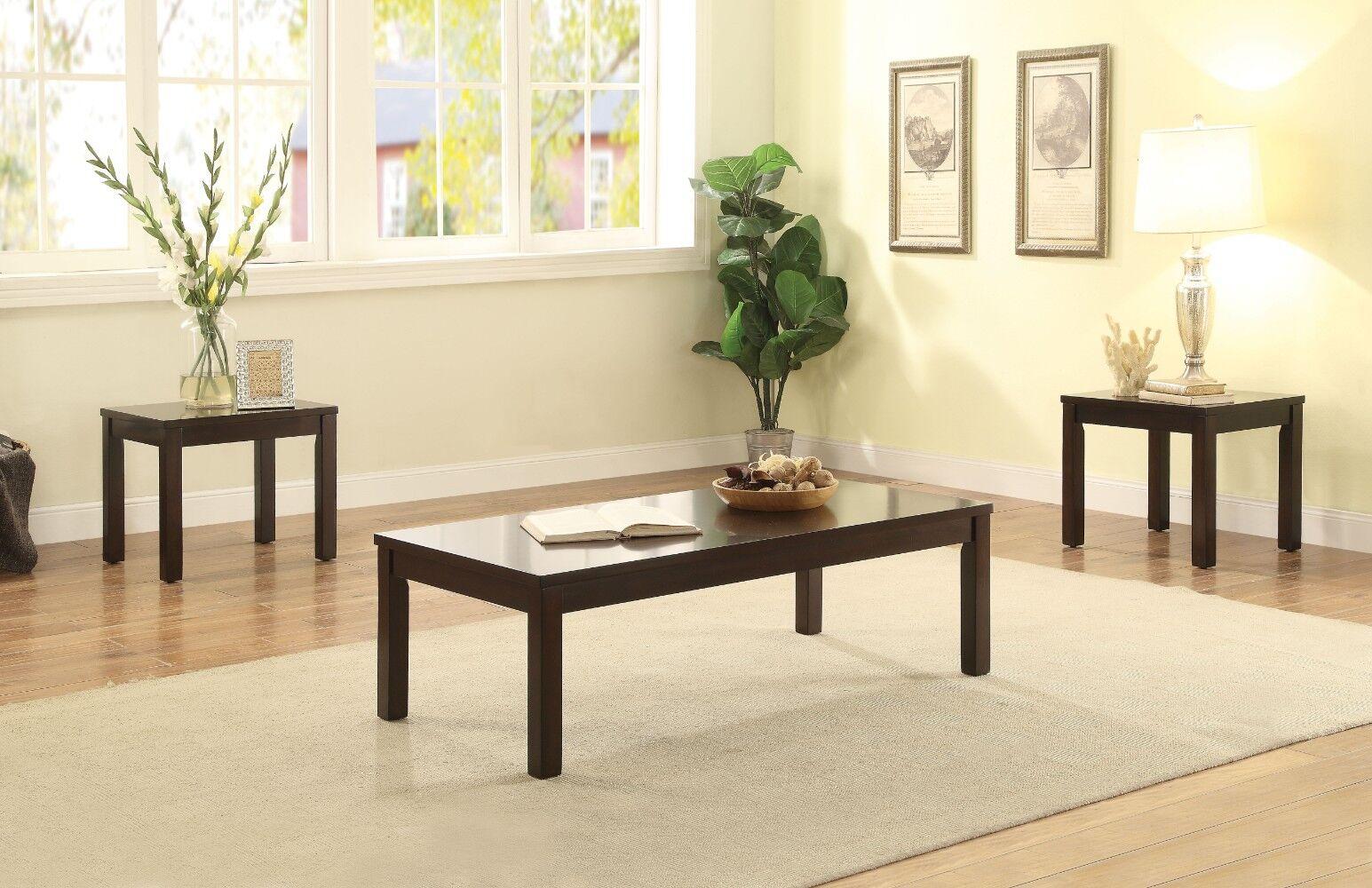Kinman Wooden 3 Piece Coffee Table Set Color: Espresso