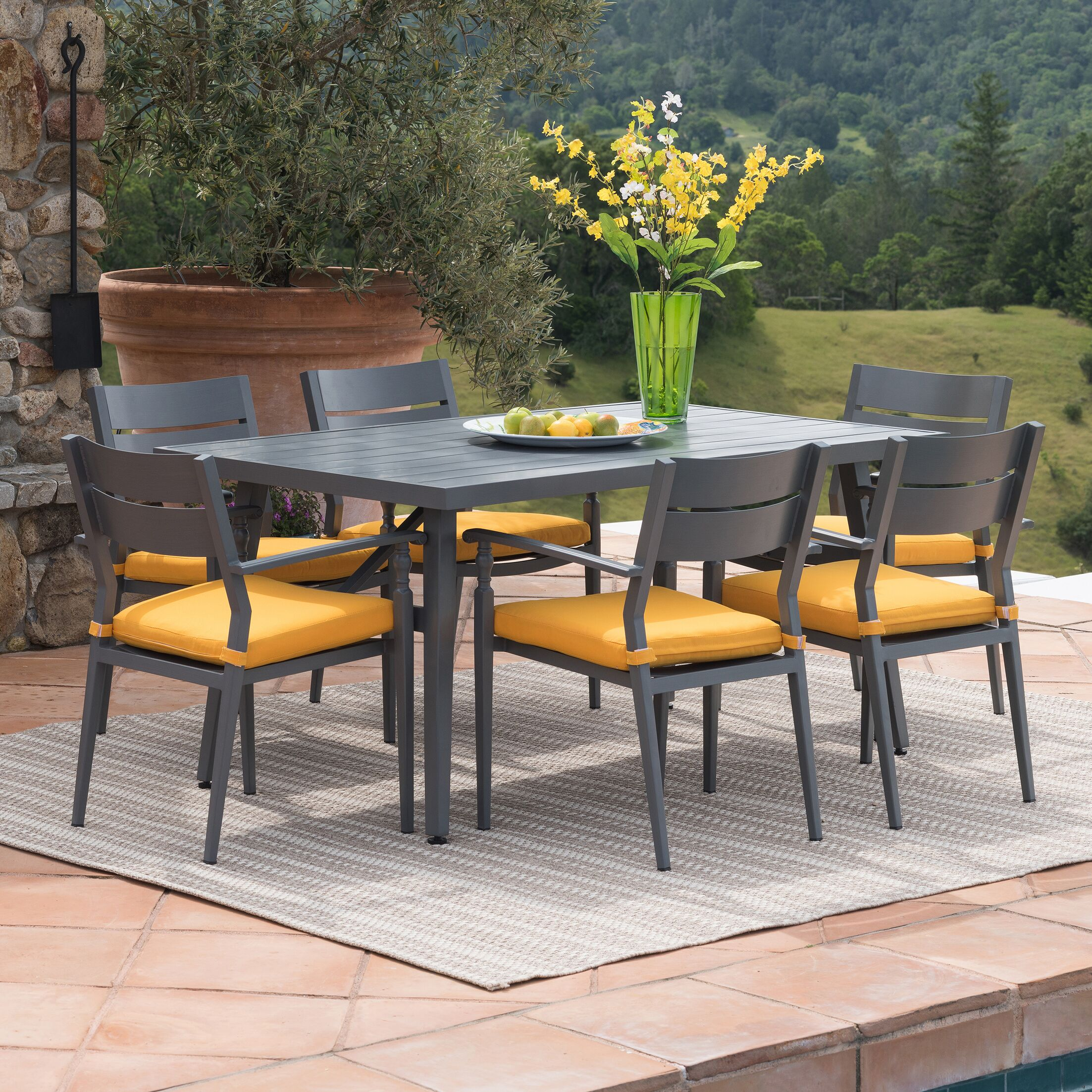 Lee-Robinson 7 Piece Dining Set with Cushions Color: Sunset�Yellow