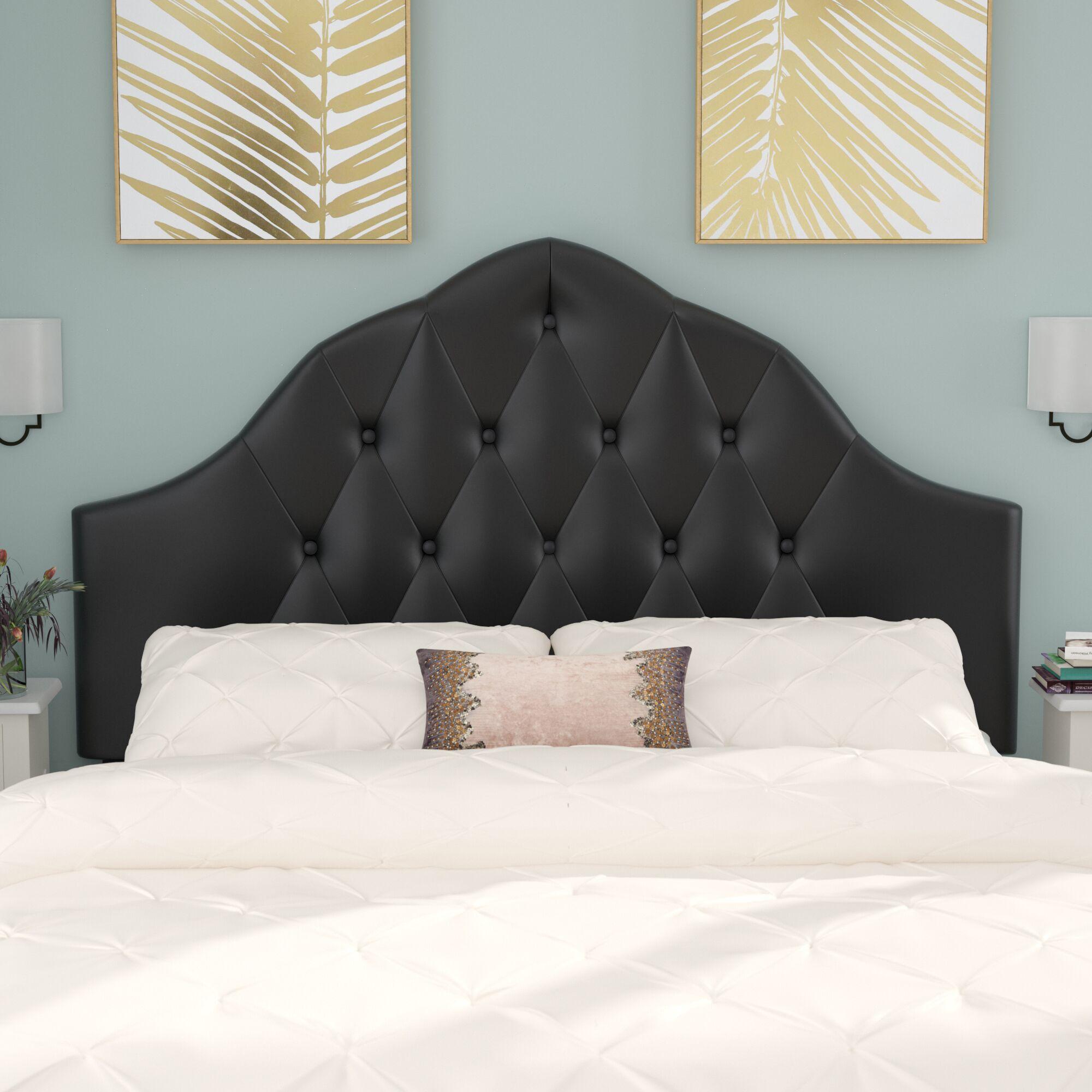 Joao Traditional Upholstered Panel Headboard Upholstery: Black, Size: Full