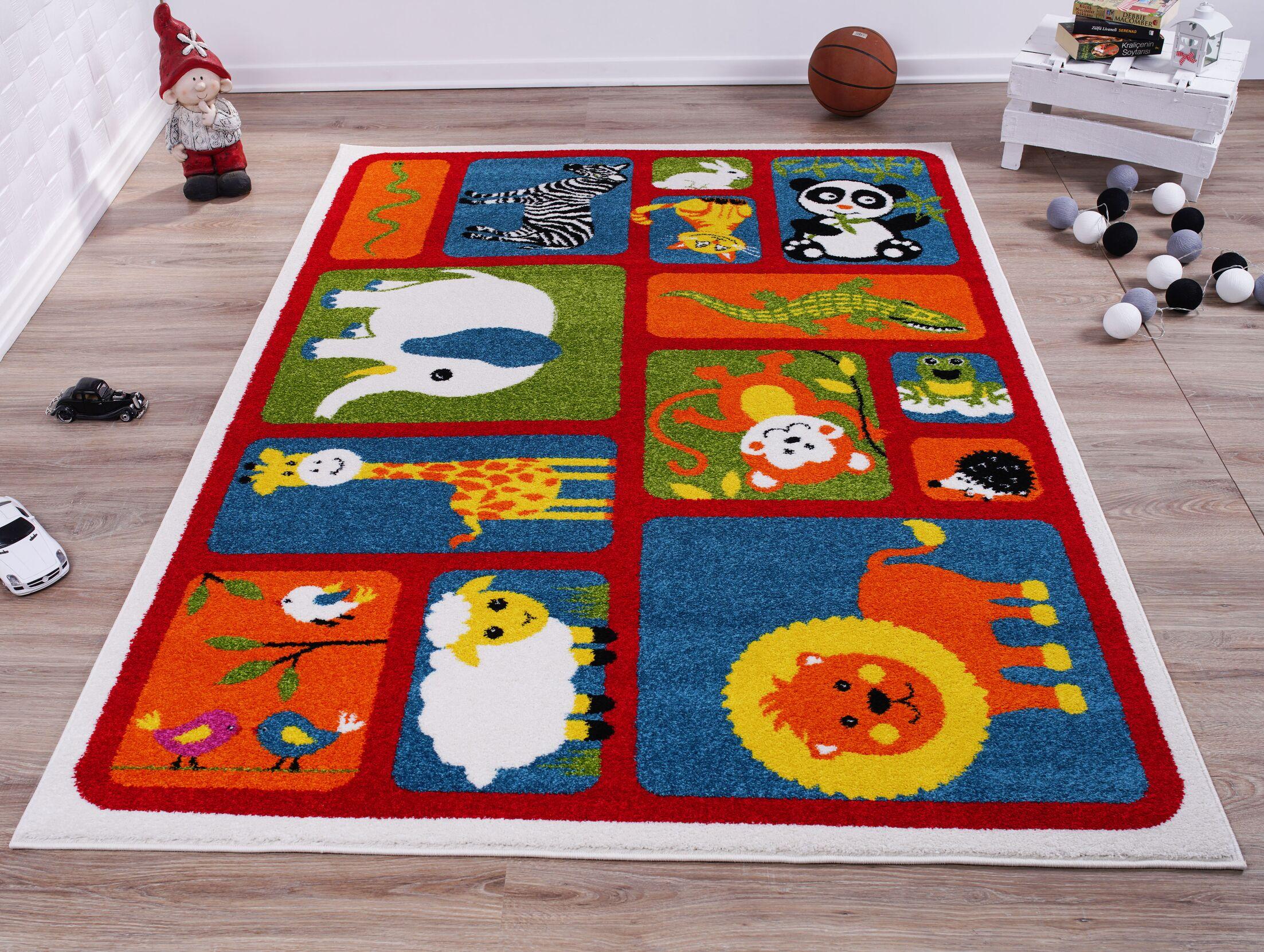 Kindig Adorable Animals Red/Orange Area Rug Rug Size: Rectangle 5'3