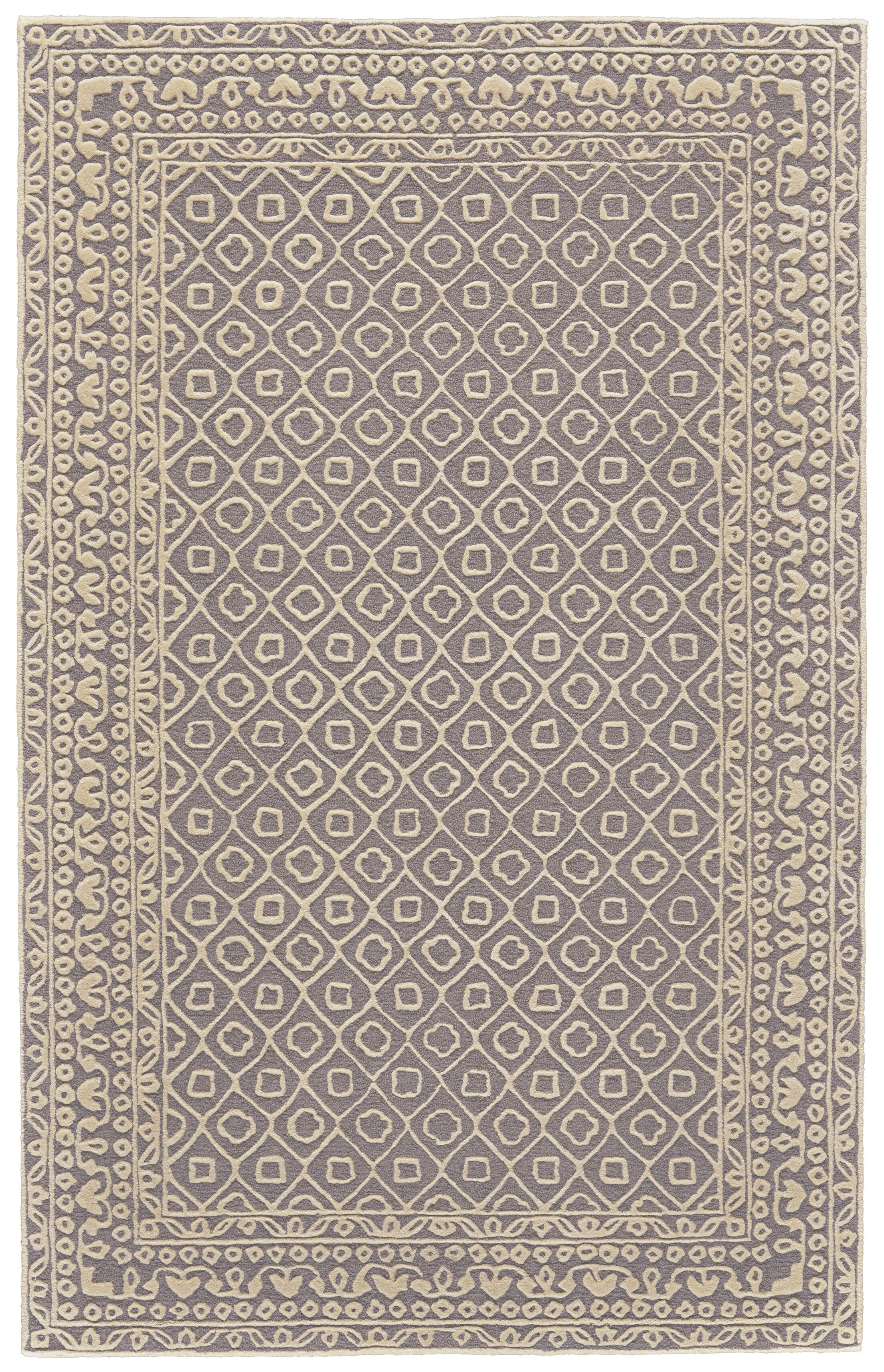 Griego Hand-Tufted Wool Dark Gray/Ivory Area Rug Rug Size: Rectangle 5' x 8'