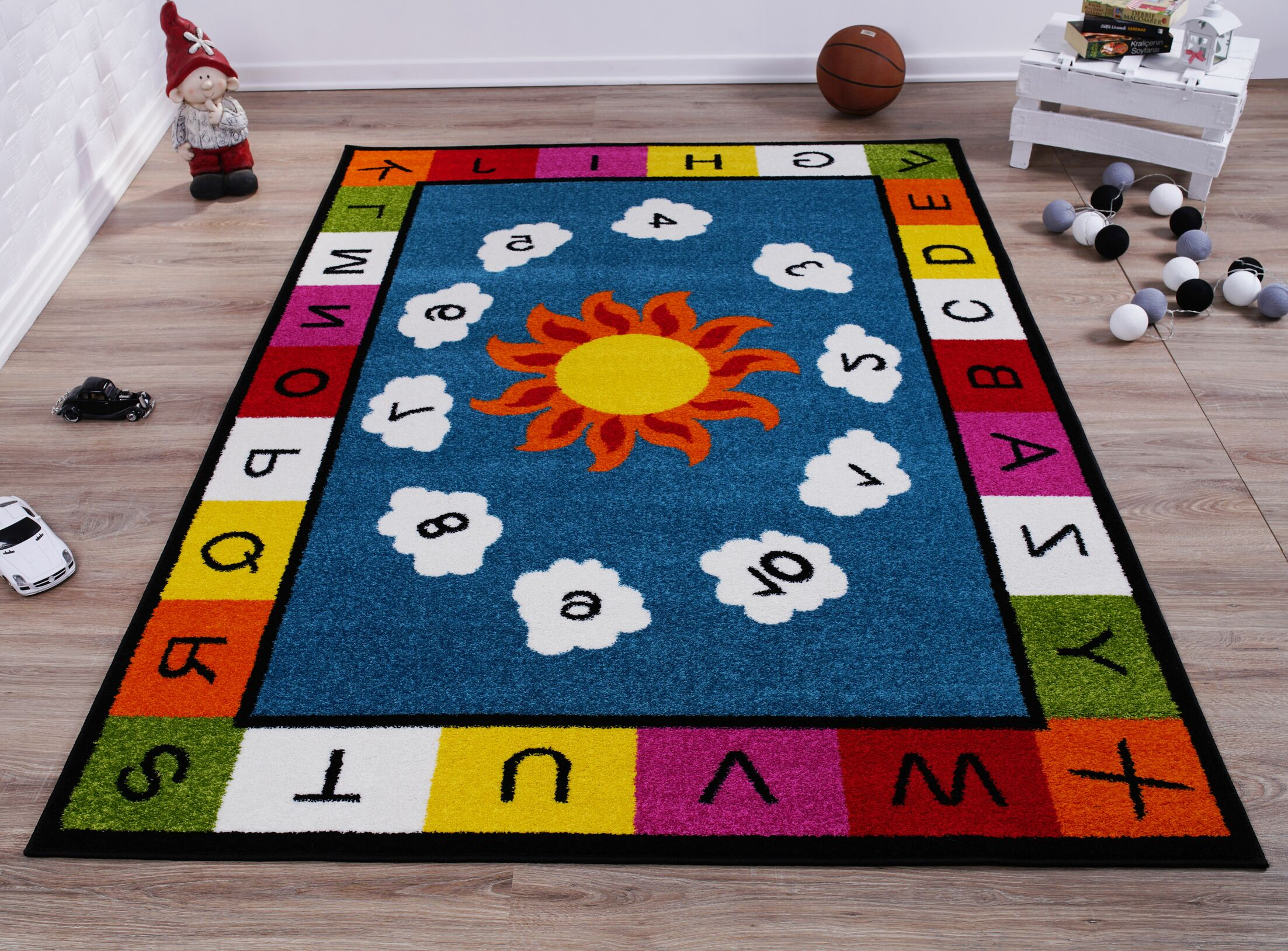 Kindig Alphabets Numbers Blue/Yellow Area Rug Rug Size: Rectangle 6'2