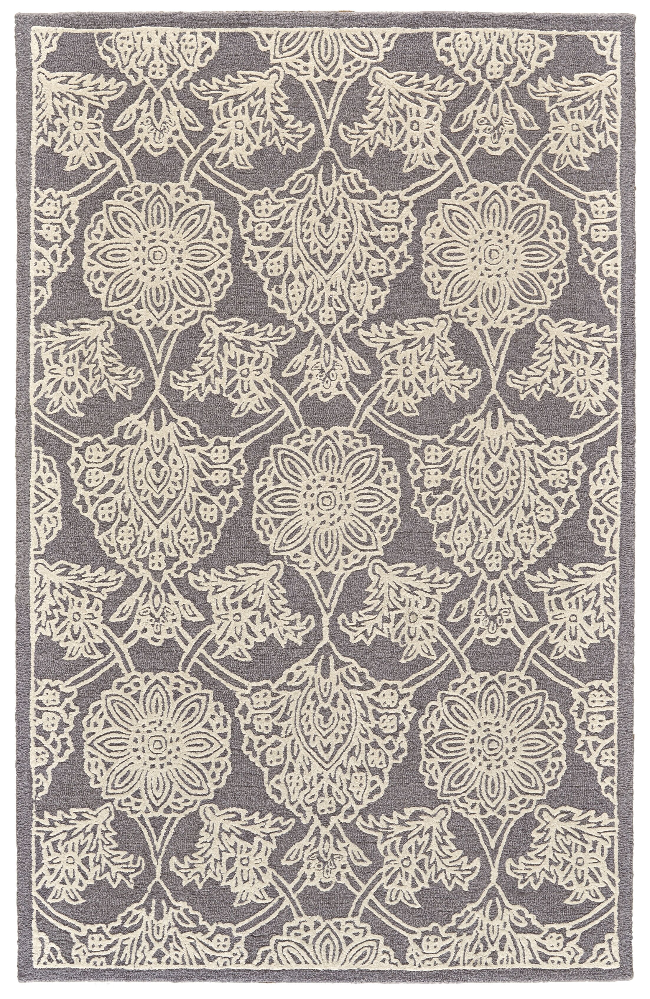 Griego Hand-Tufted Wool Dark Gray/Ivory Area Rug Rug Size: Rectangle 9'6