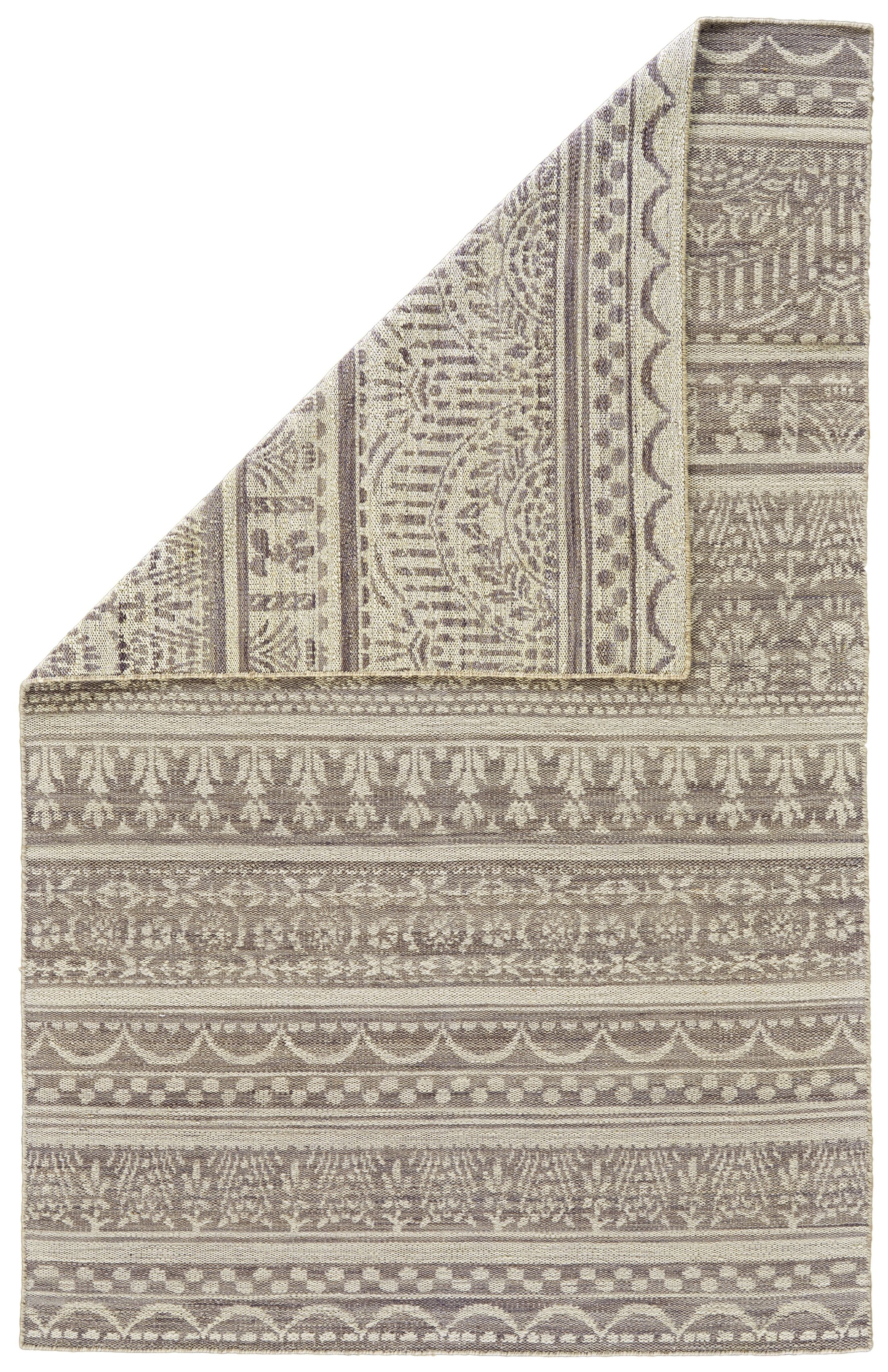 Reiber Hand-Woven Wool Gray/White Area Rug Rug Size: Round 8'