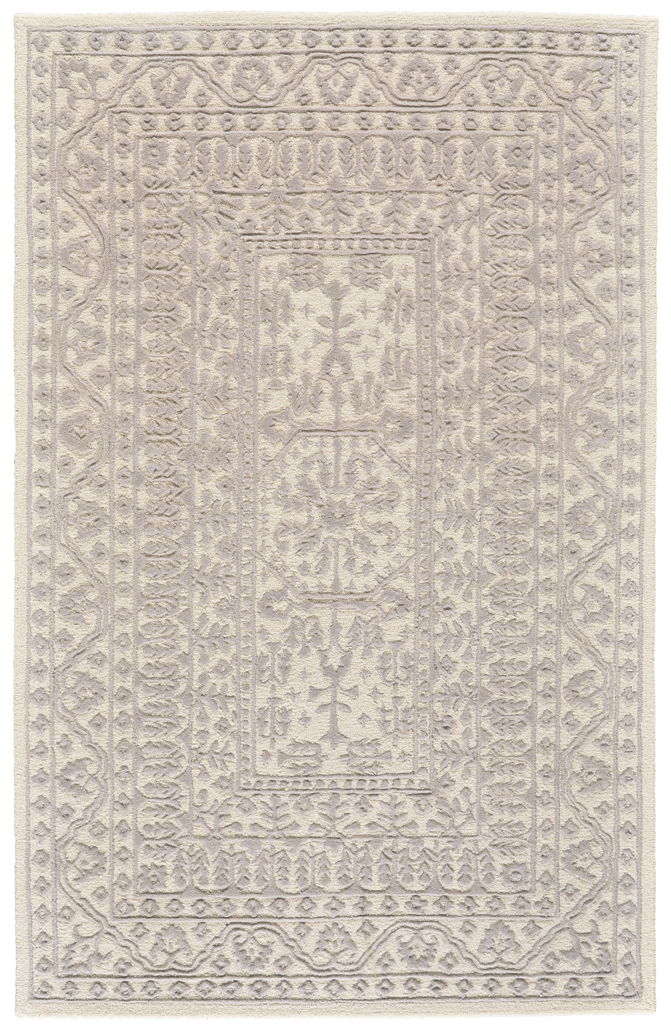 Griego Hand-Tufted Wool Ivory/Light Gray Area Rug Rug Size: Rectangle 9'6