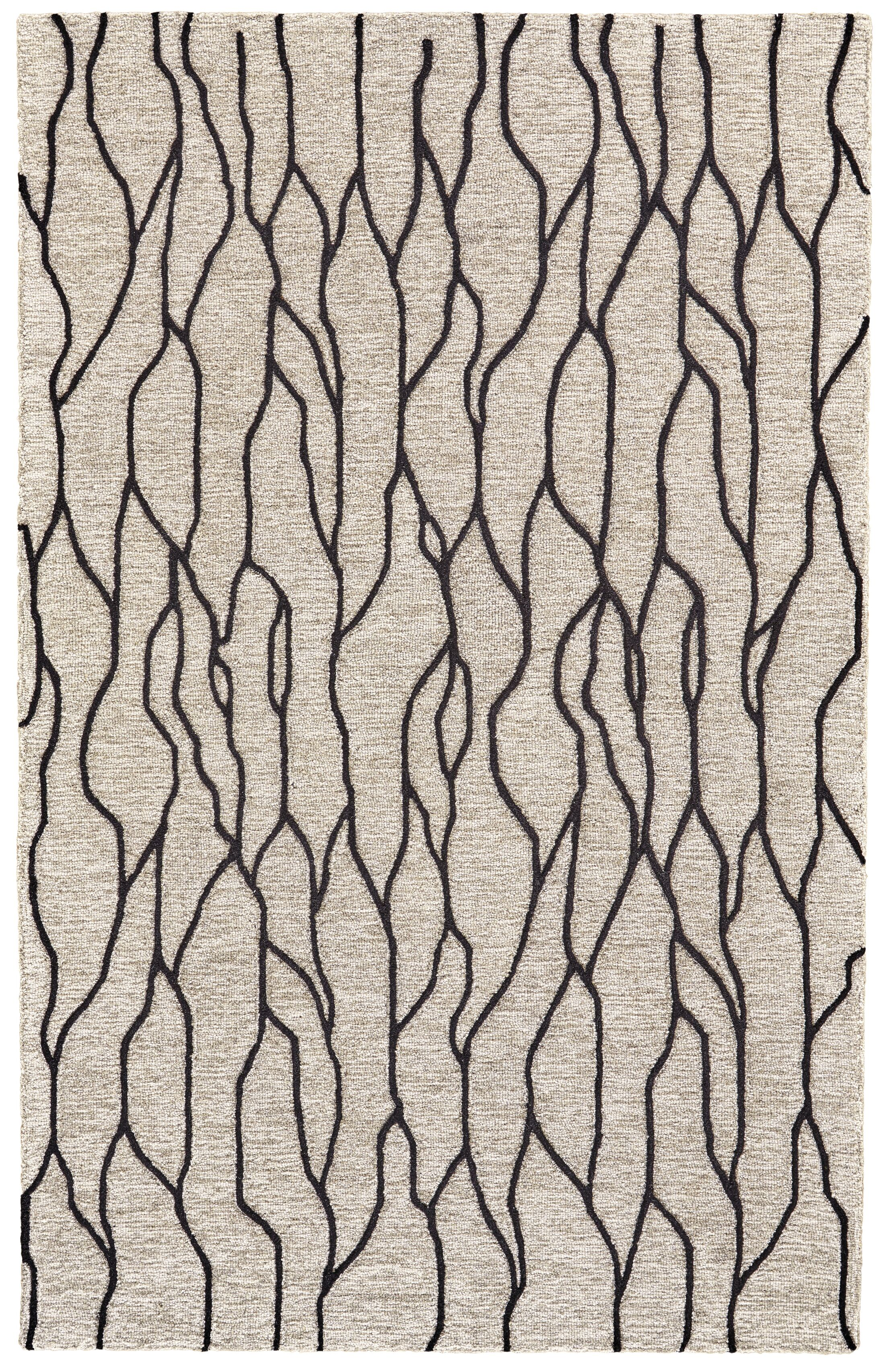 Grider Hand-Tufted Wool Black/Taupe Area Rug Rug Size: Rectangle 9'6