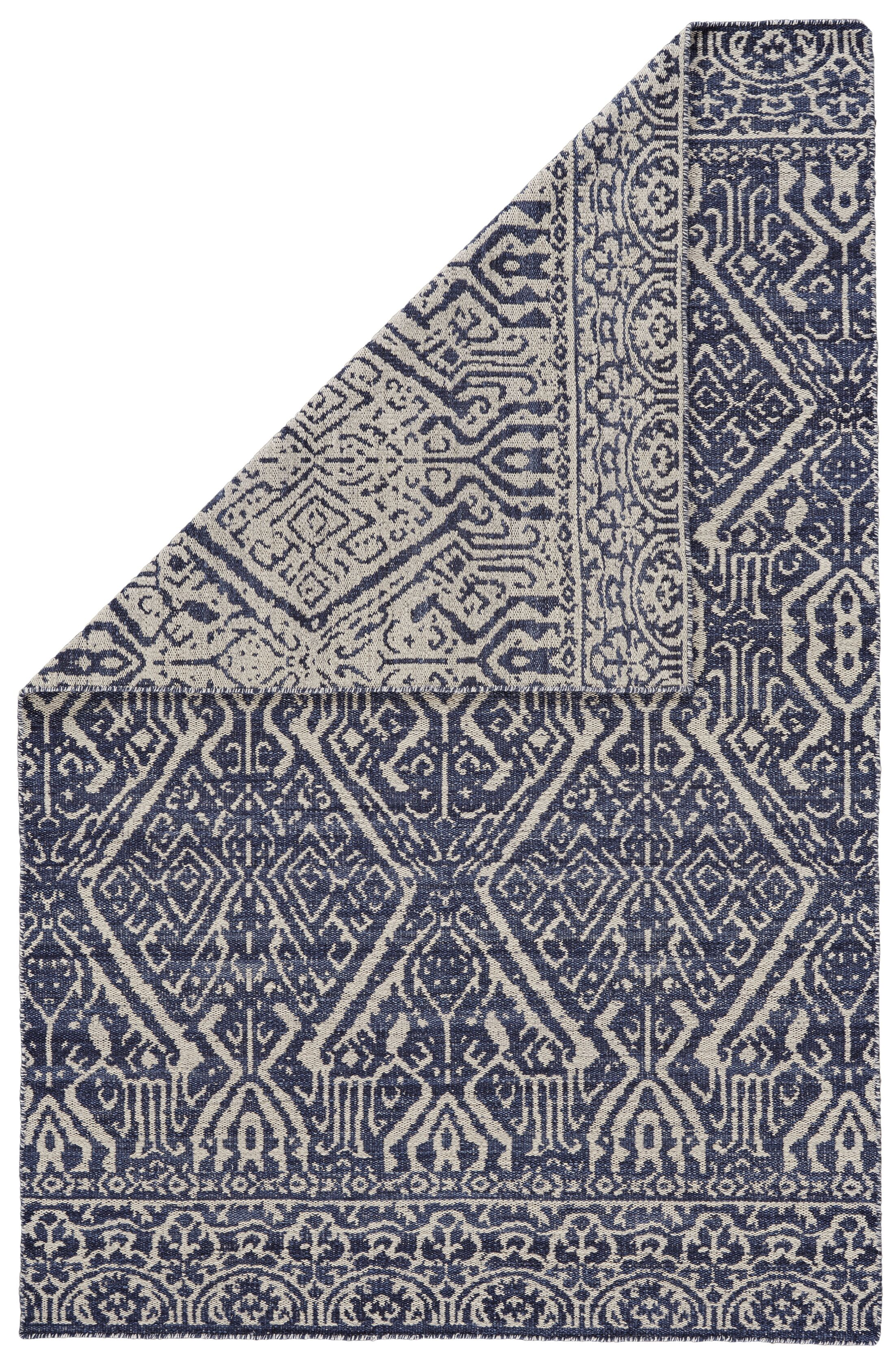 Reiber Hand-Woven Wool Cobalt/White Area Rug Rug Size: Rectangle 5' x 8'