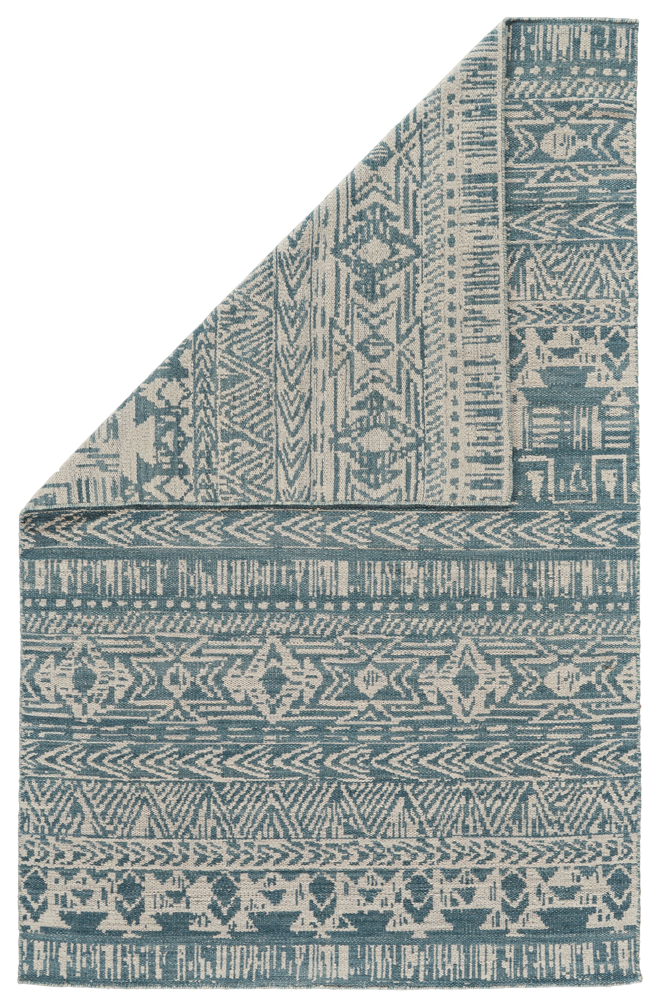 Reiber Hand-Woven Wool Aqua/White Area Rug Rug Size: Rectangle 8' x 11'