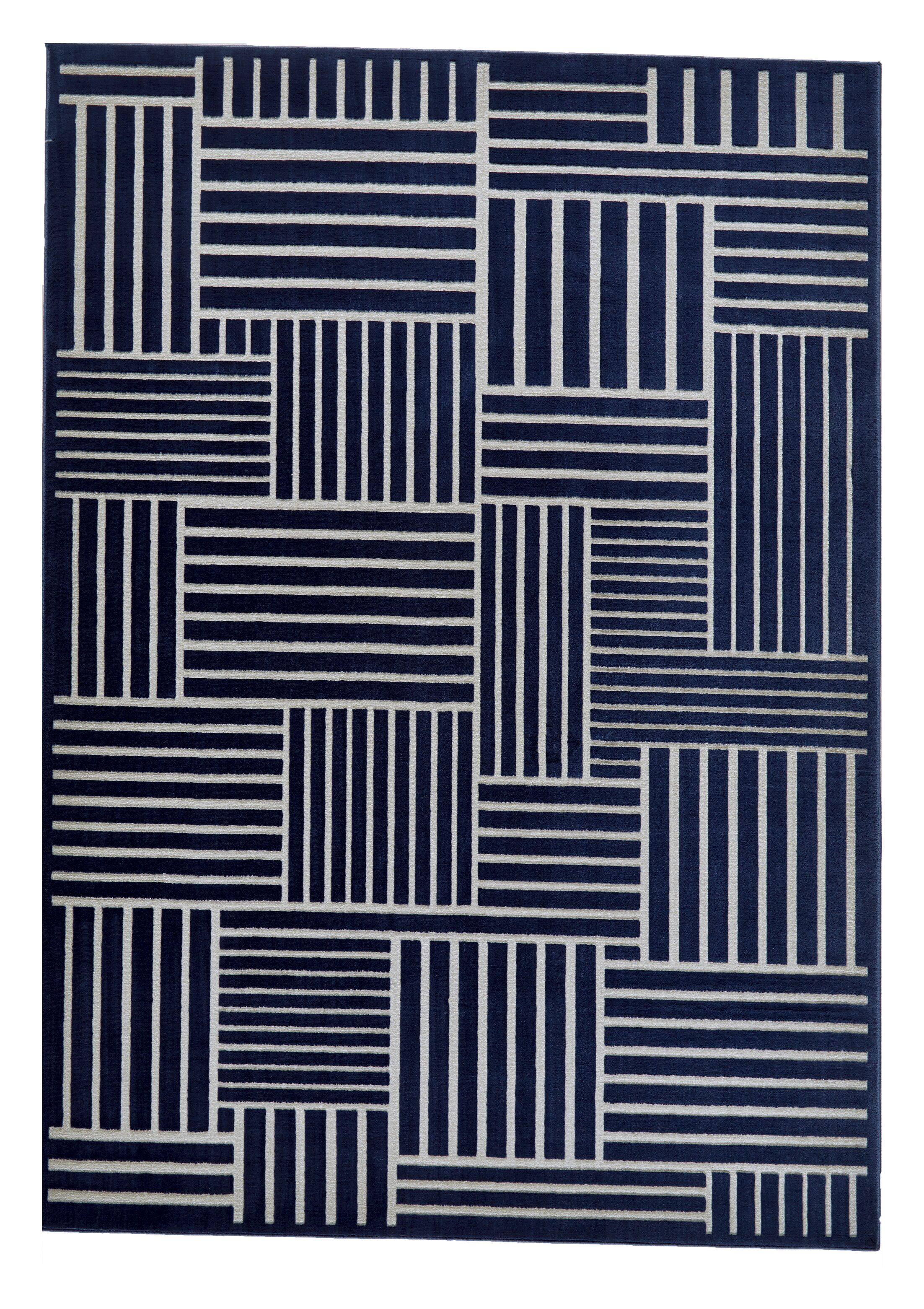 Grossman Navy/Gray Area Rug Rug Size: Rectangle 6'7