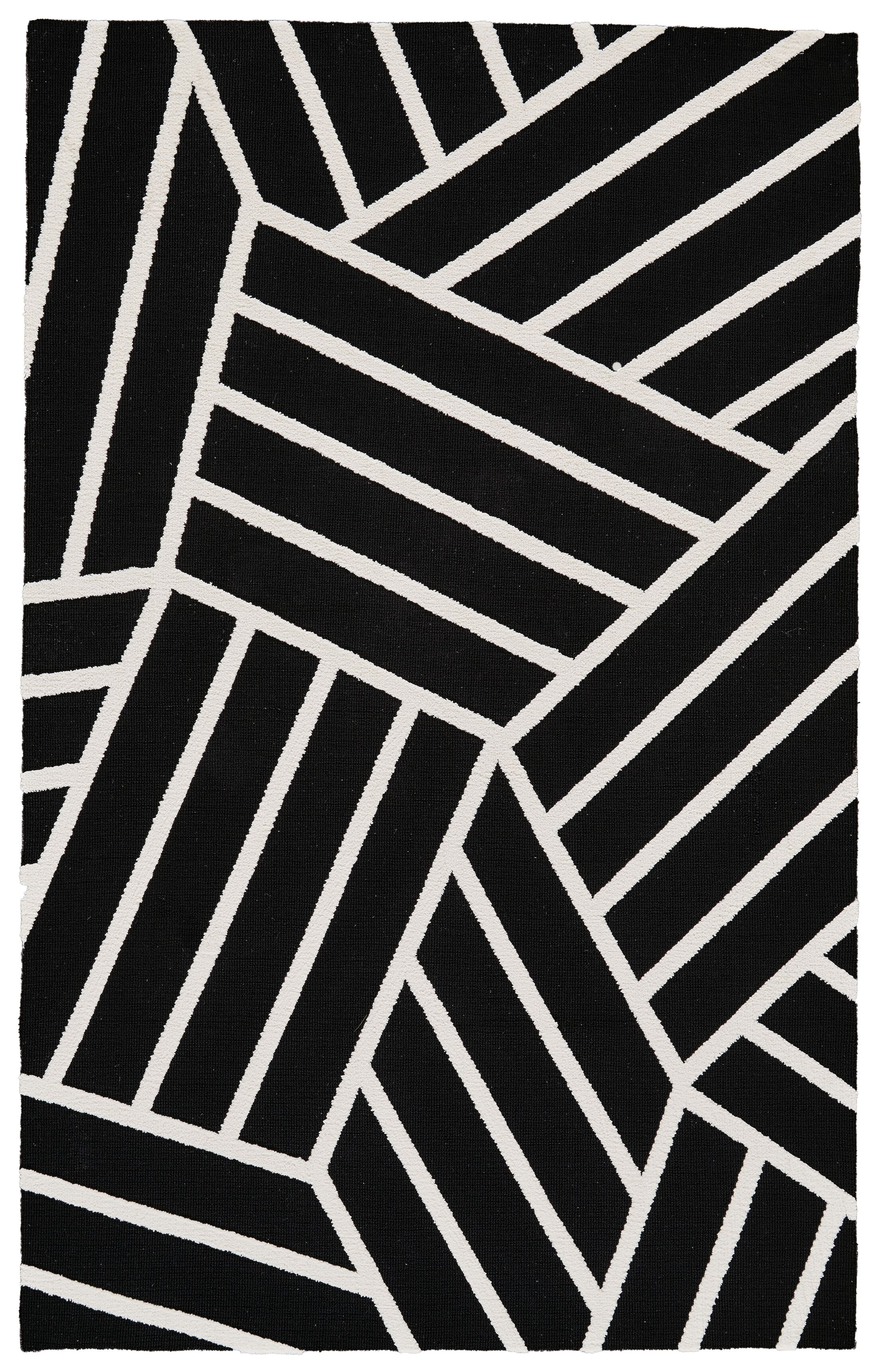 Kobayashi Black/White Area Rug Rug Size: Rectangle 5' x 8'