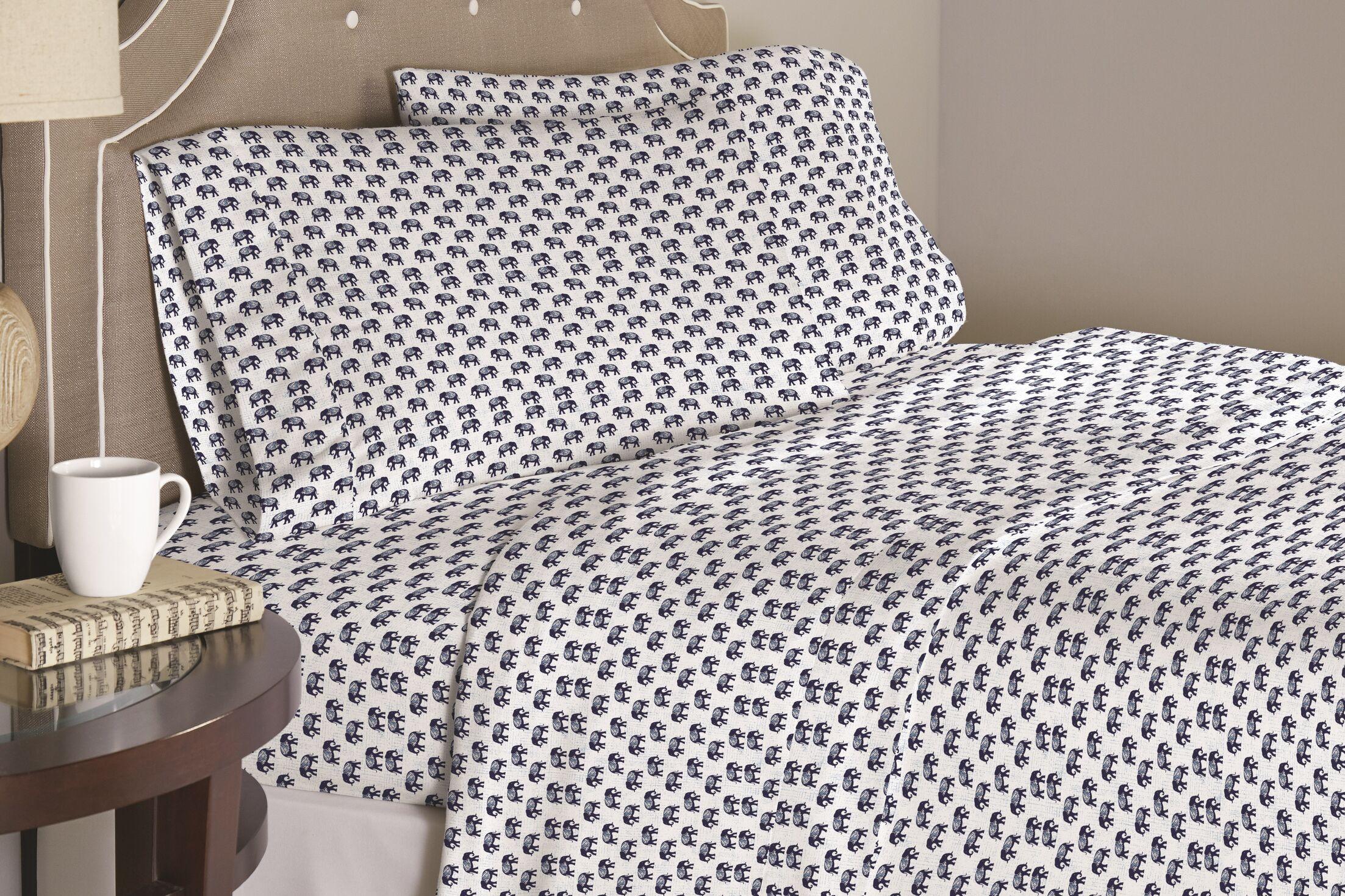 Galipeau Elephant 200 Thread Count 100% Cotton Sheet Set Size: Full