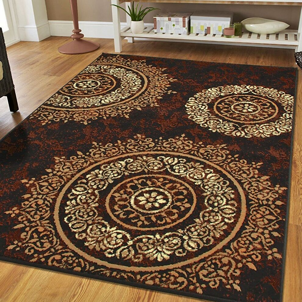 Preiss Luxury Circles Brown Indoor/Outdoor Area Rug Rug Size: Rectangle 5' x 8'