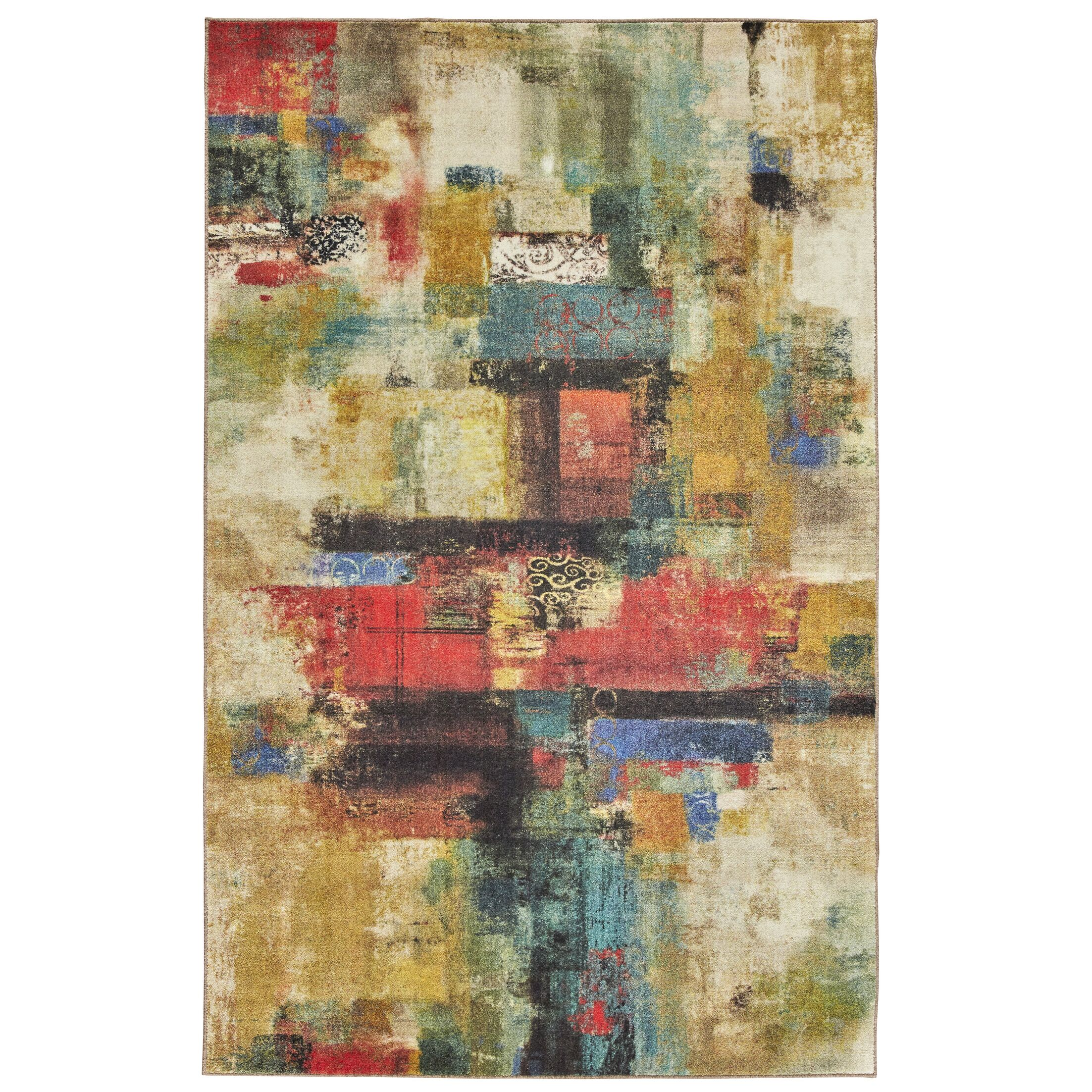 Locher Graphic Canvas Red/Beige Area Rug Rug Size: Rectangle 5' x 8'