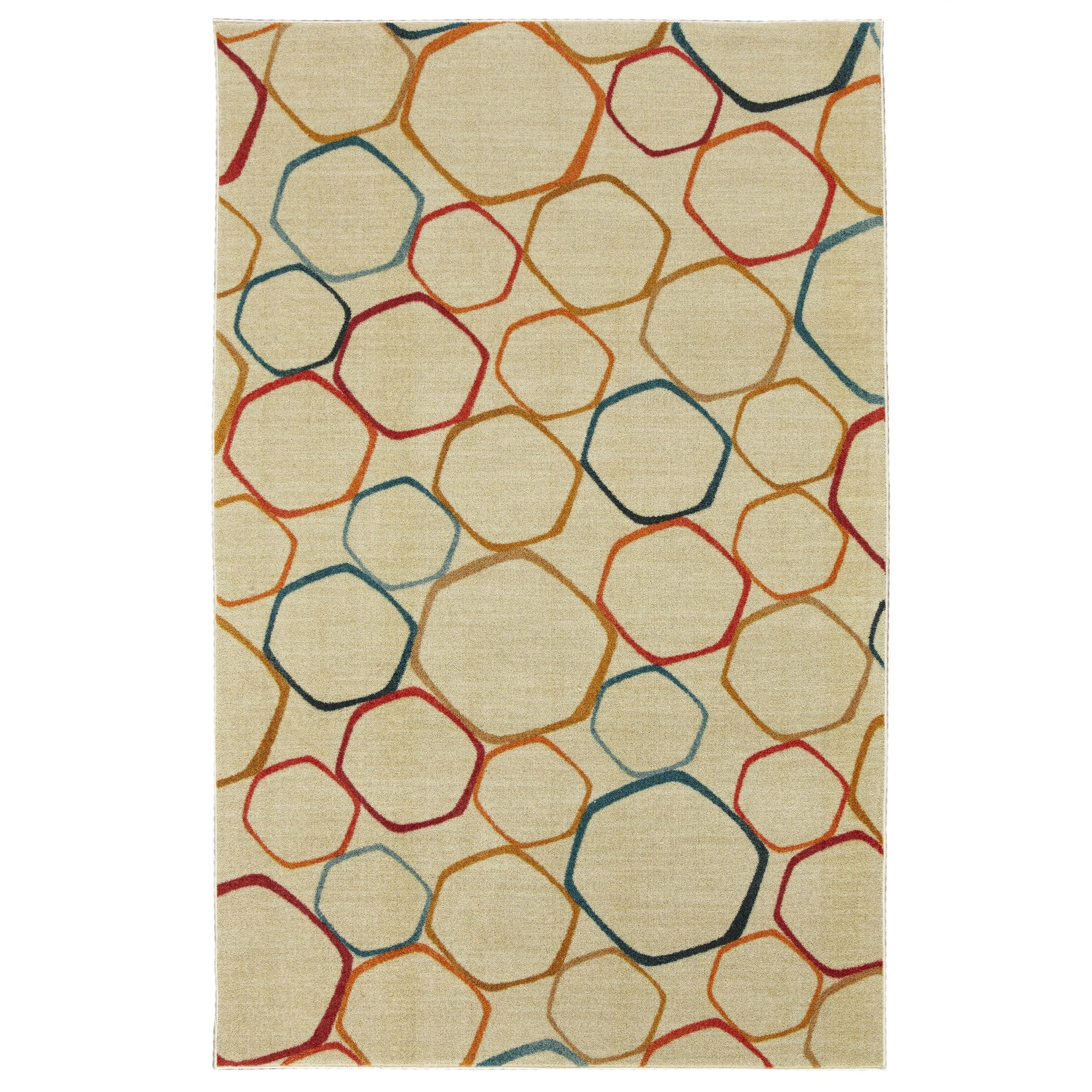 Locher Graphic Circles Cream/Yellow Area Rug Rug Size: Rectangle 8' x 10'