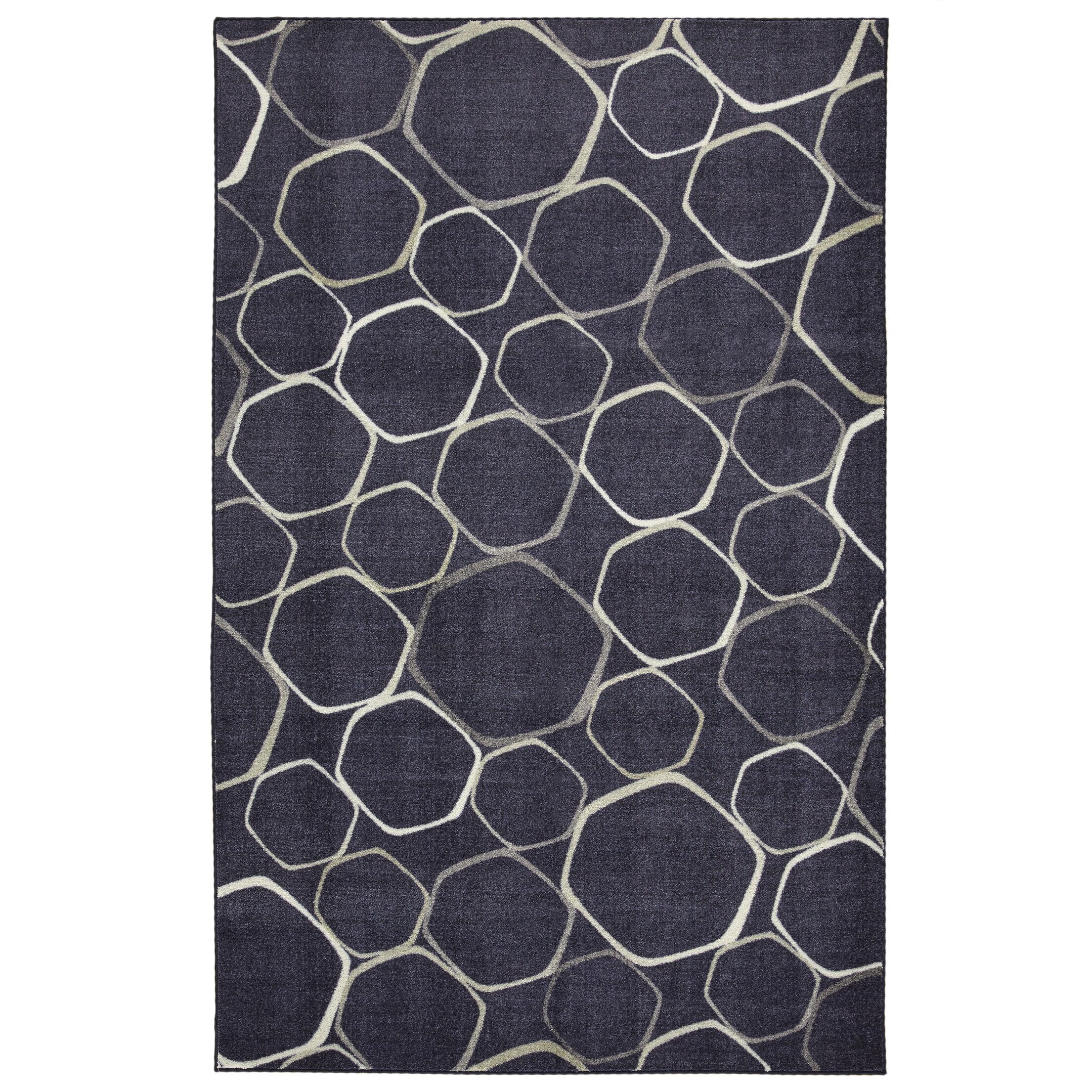 Locher Graphic Circles Indigo/White Area Rug Rug Size: Rectangle 8' x 10'