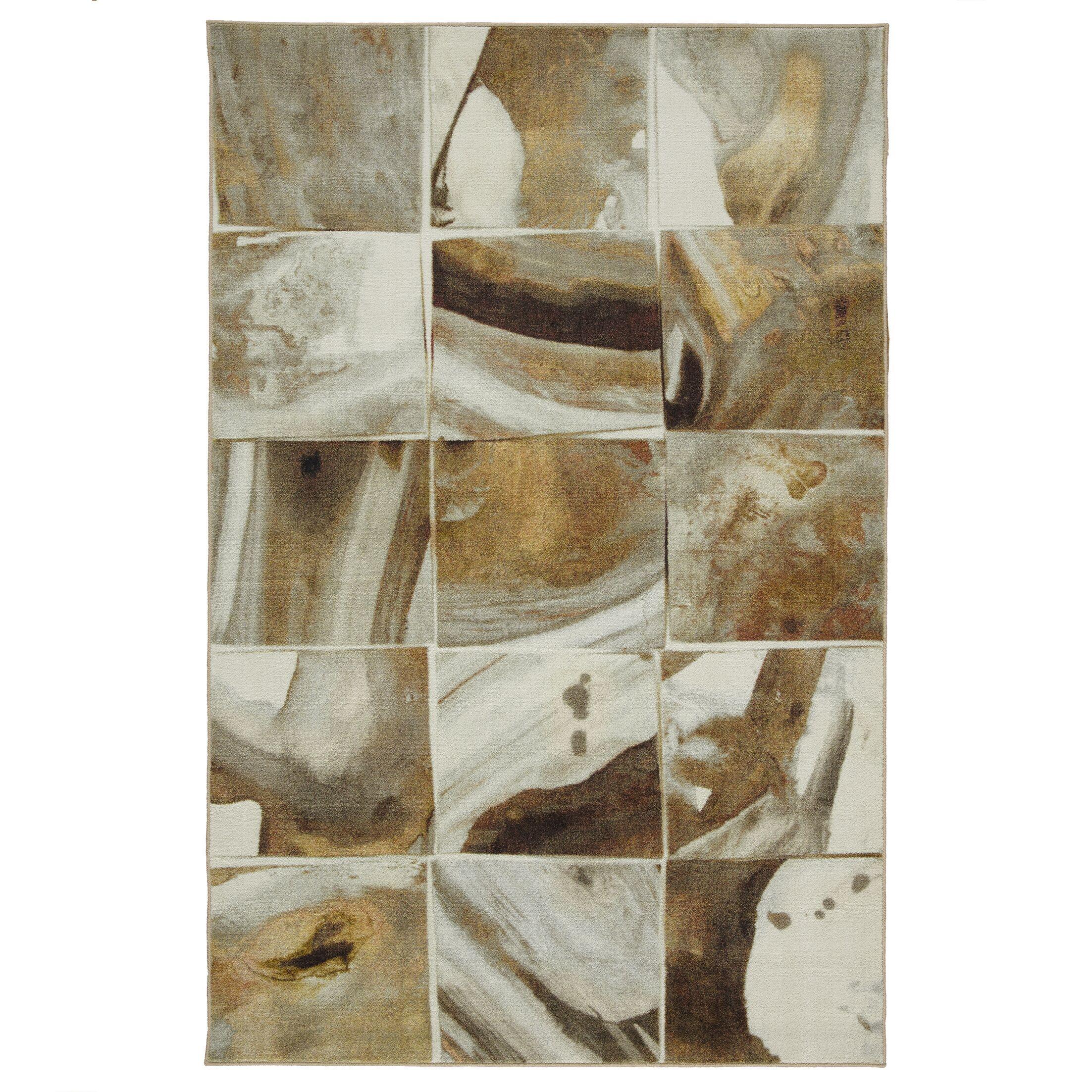 Kerber Marble Tile Gold Area Rug Rug Size: Rectangle 8' x 10'