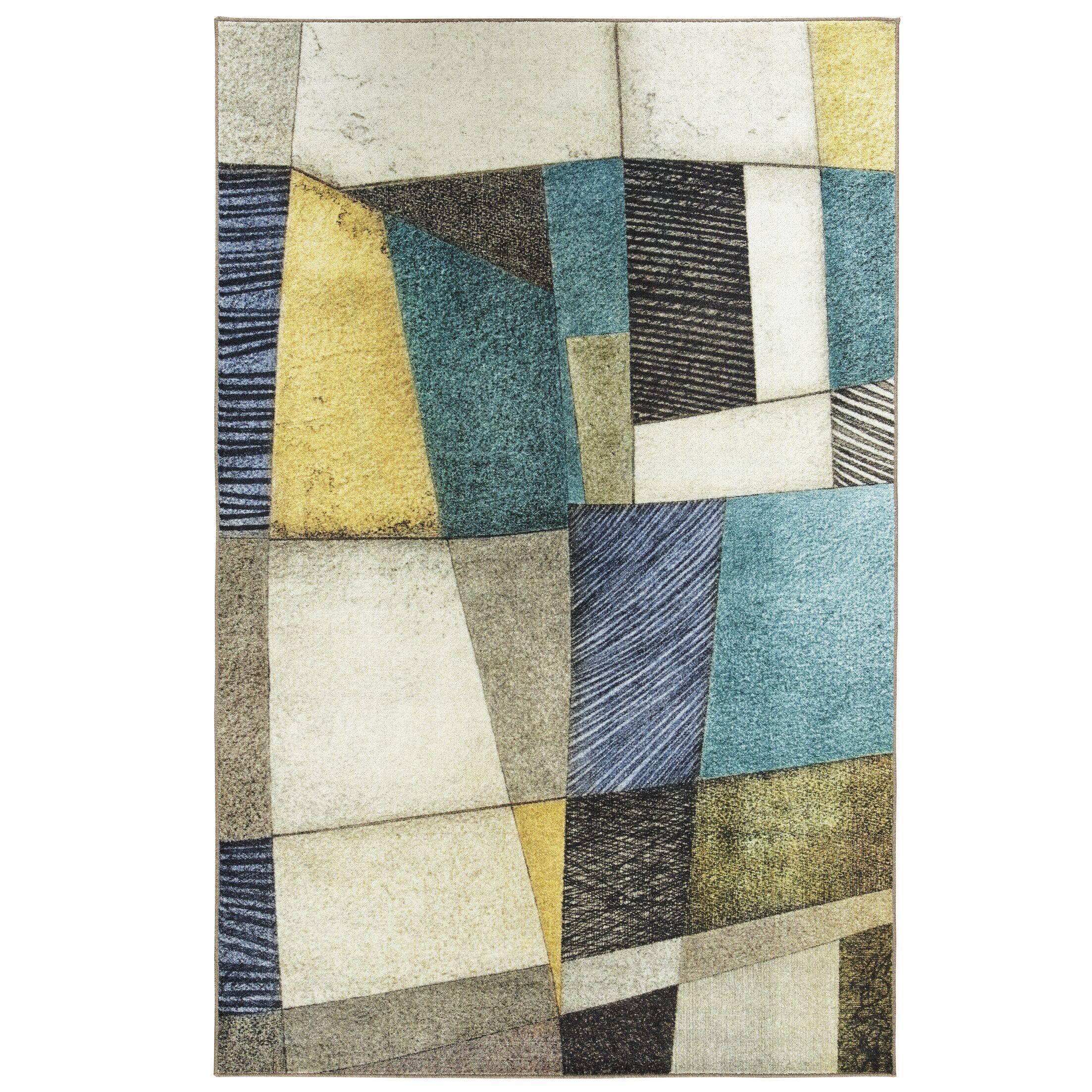 Hallberg Textured Geo Teal/Gray Area Rug Rug Size: Rectangle 5' x 8'