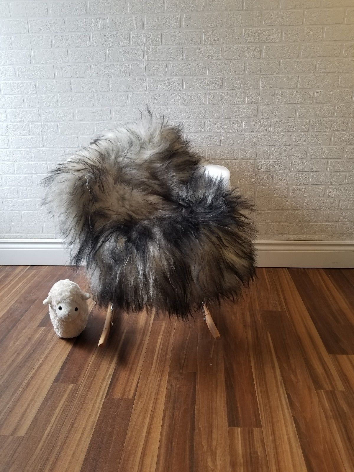One-of-a-Kind Perin Soft Hand-Woven Sheepskin Black/Gray Area Rug