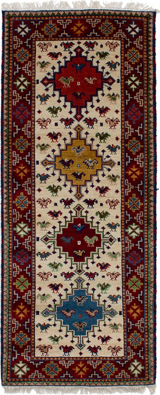 One-of-a-Kind Doering Hand-Knotted Wool Cream/Dark Red Area Rug