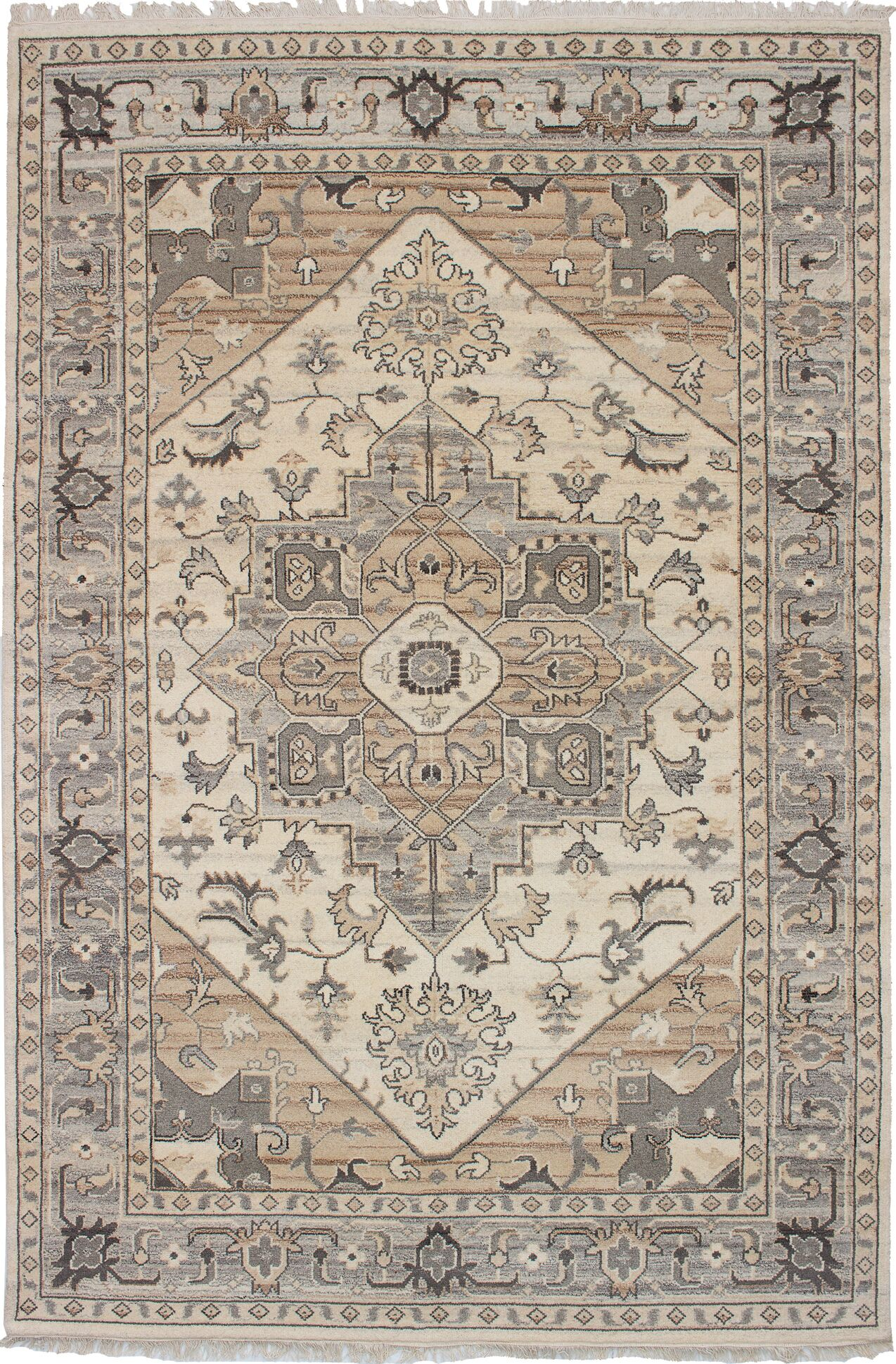 One-of-a-Kind Dominy Hand-Knotted Wool Cream Area Rug