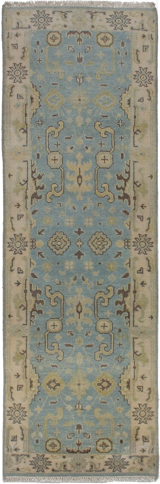 One-of-a-Kind Doggett Hand-Knotted Wool Light Denim Blue Area Rug