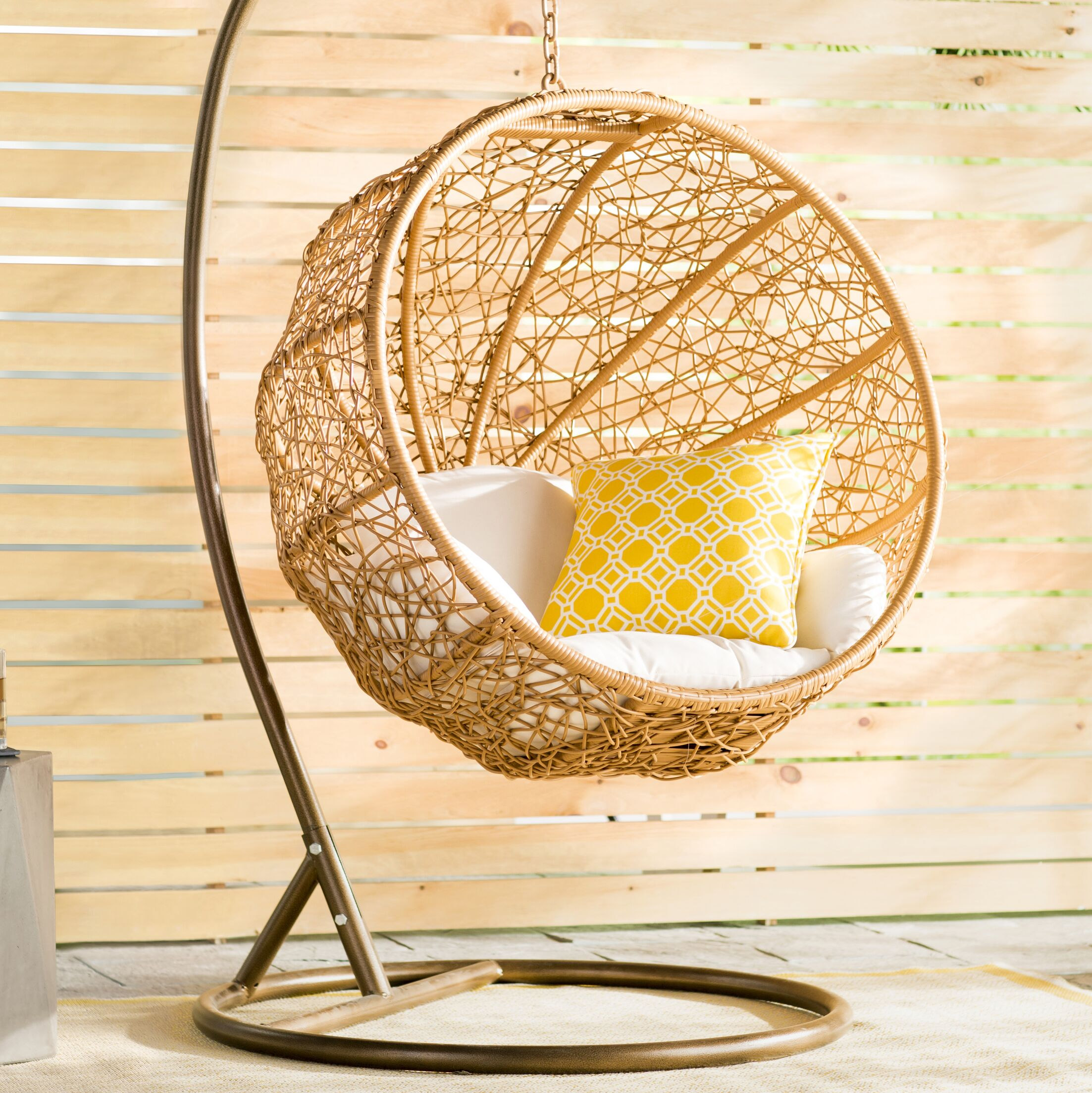 Eliott Swing Chair with Stand Cushion Color: White