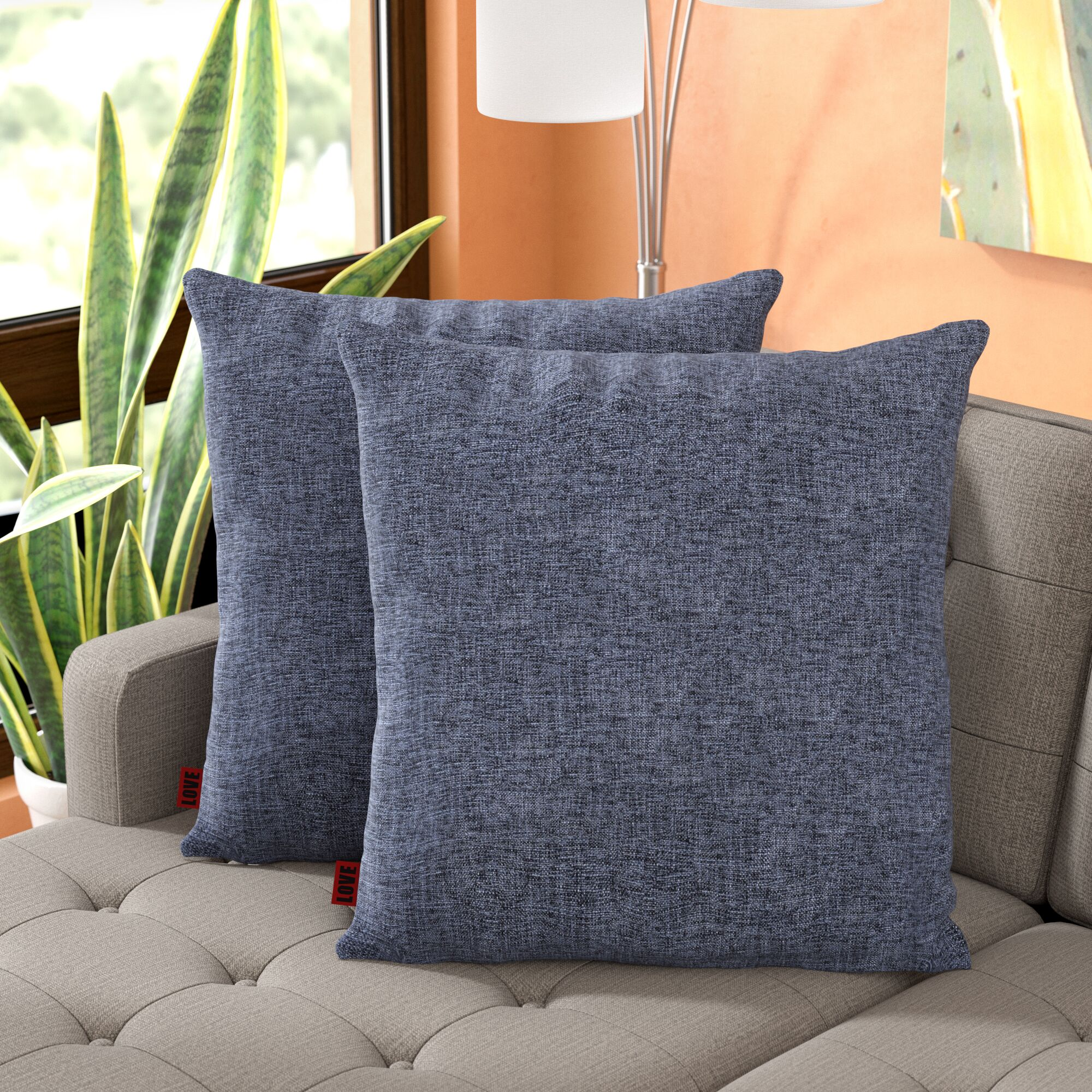 Barco Fabric Square Throw Pillow Color: Dark Blue