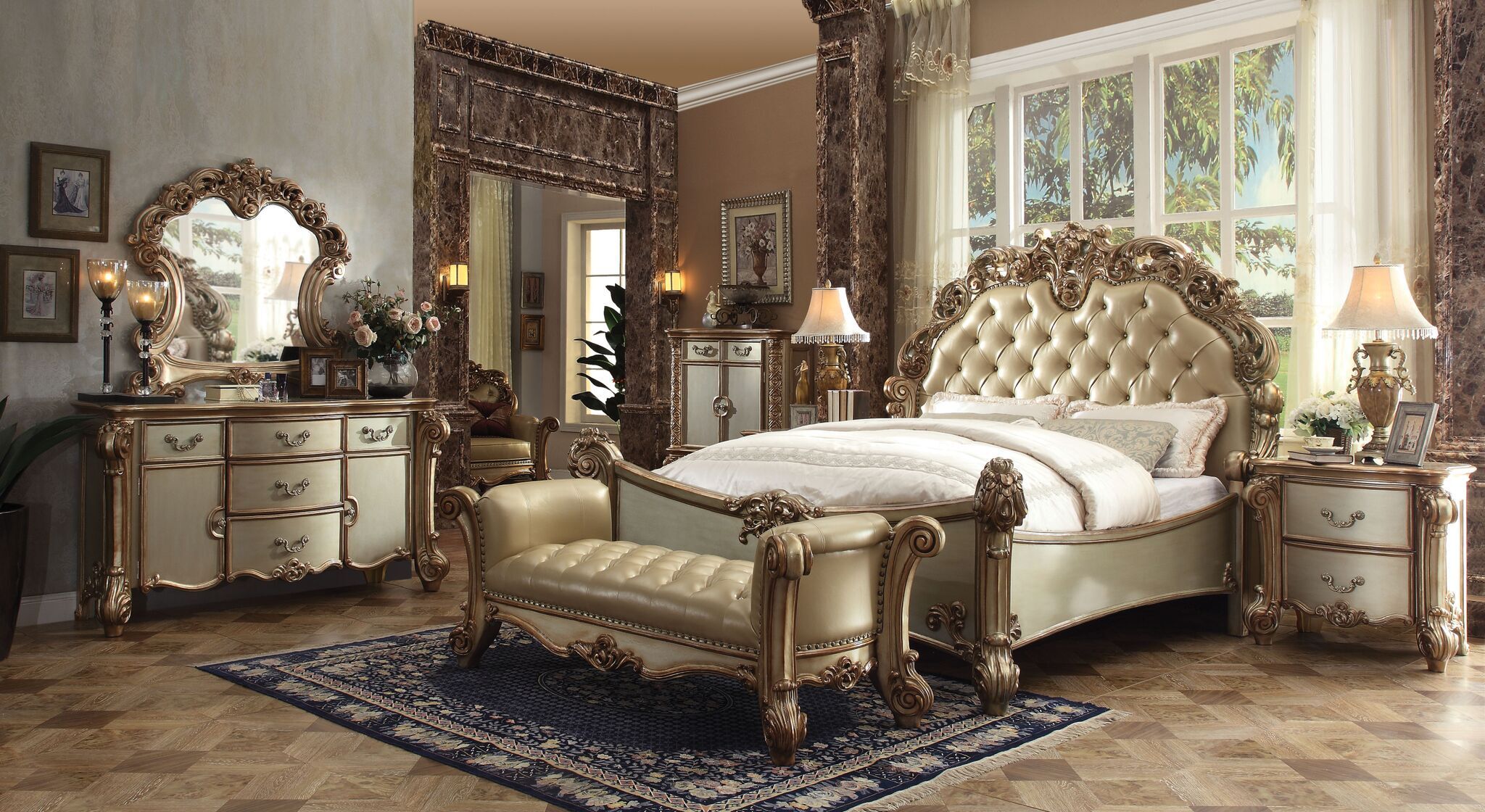 Ryles Upholstered Panel Bed Size: California King, Color: Gold