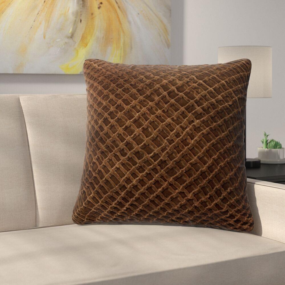 Lao Velvet Throw Pillow Color: Brown