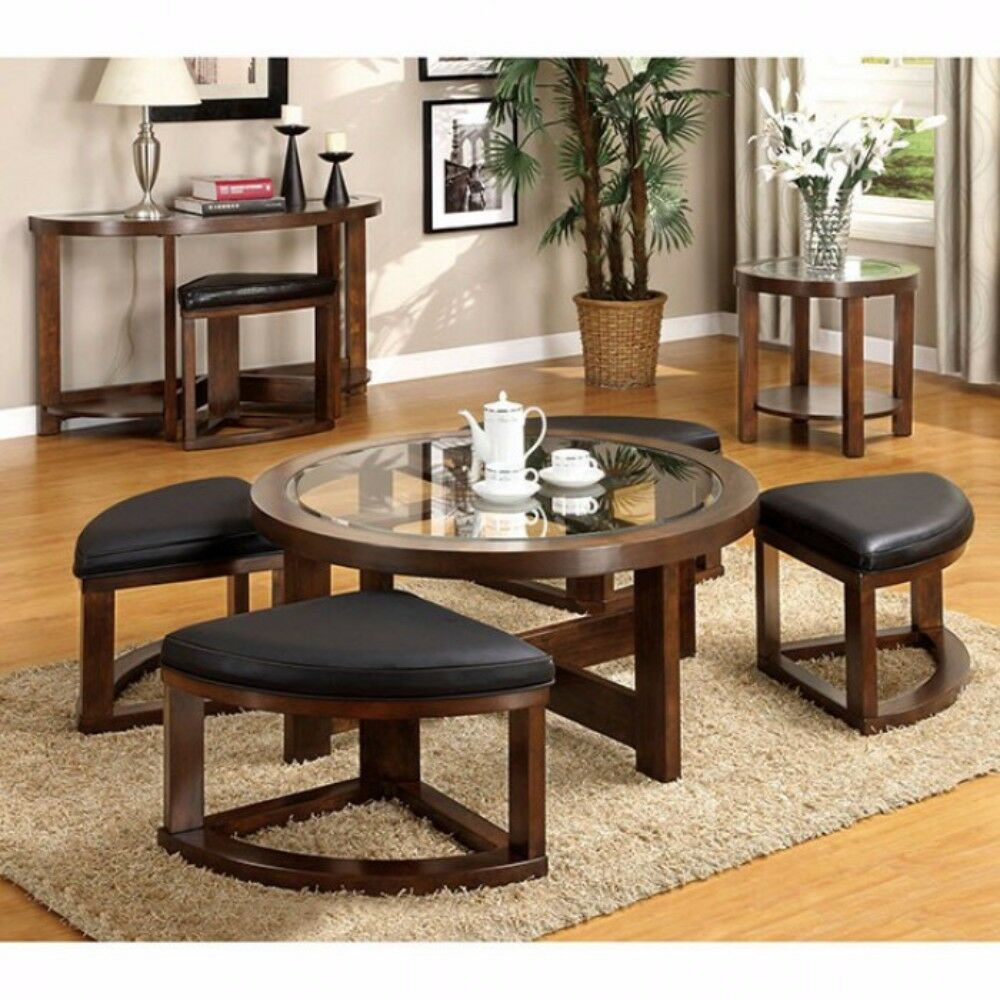 Wellkamp Wooden Coffee Table with 4 Ottomans
