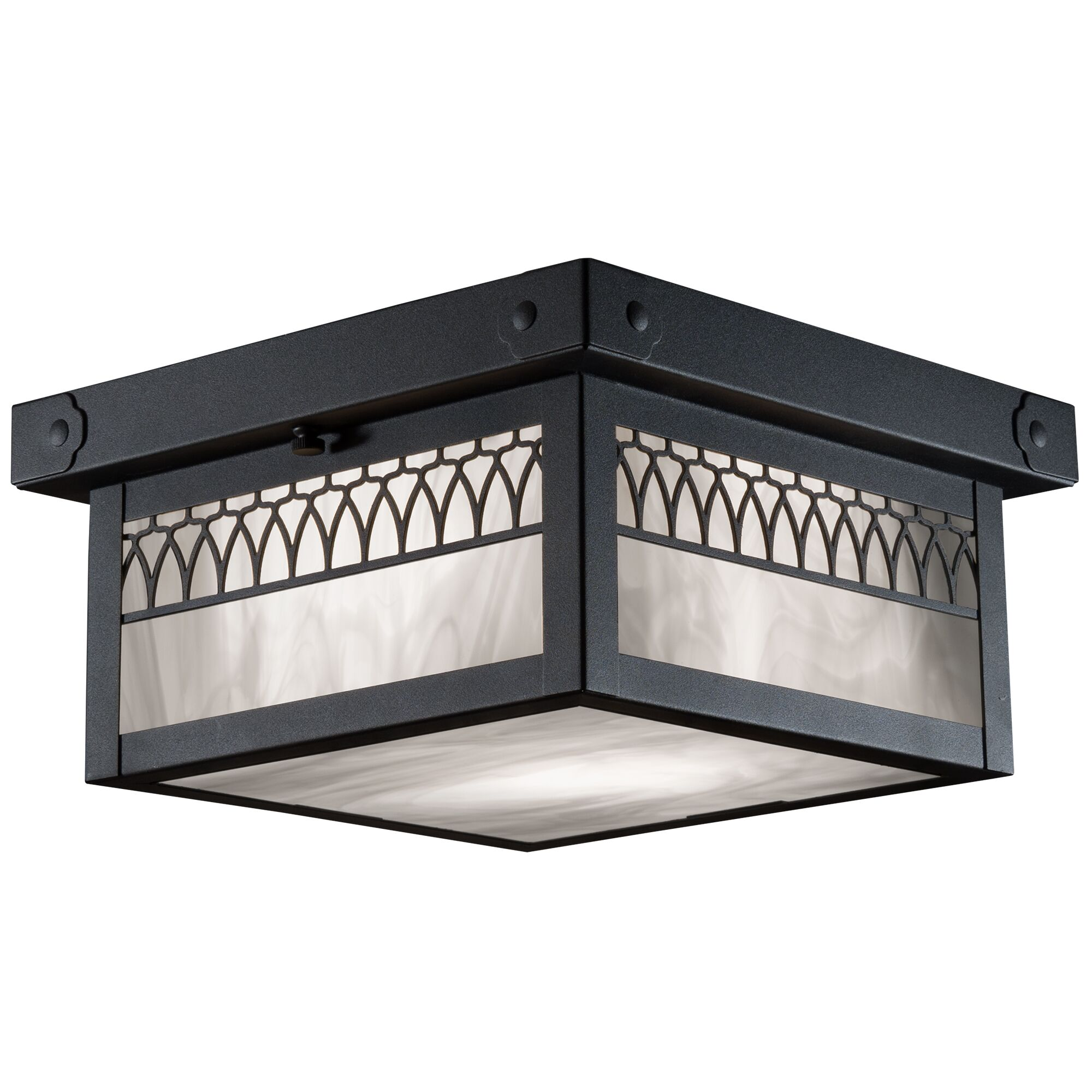 Wentzel Window 1-Light Flush Mount Shade Color: Gold Iridescent, Fixture Finish: Architectural Bronze