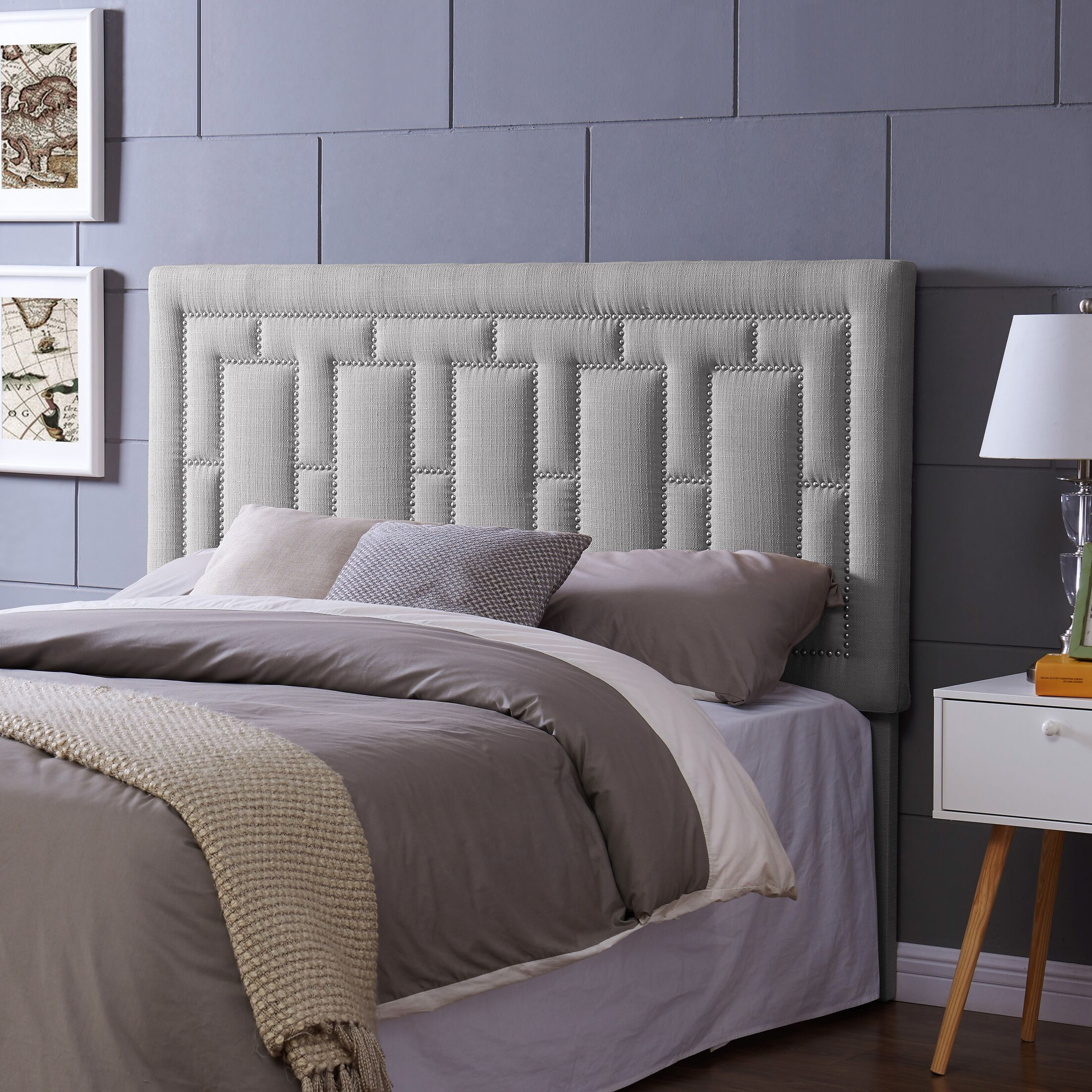 Kelsch Upholstered Panel Headboard Upholstery: Dove Gray, Size: King/CalKing