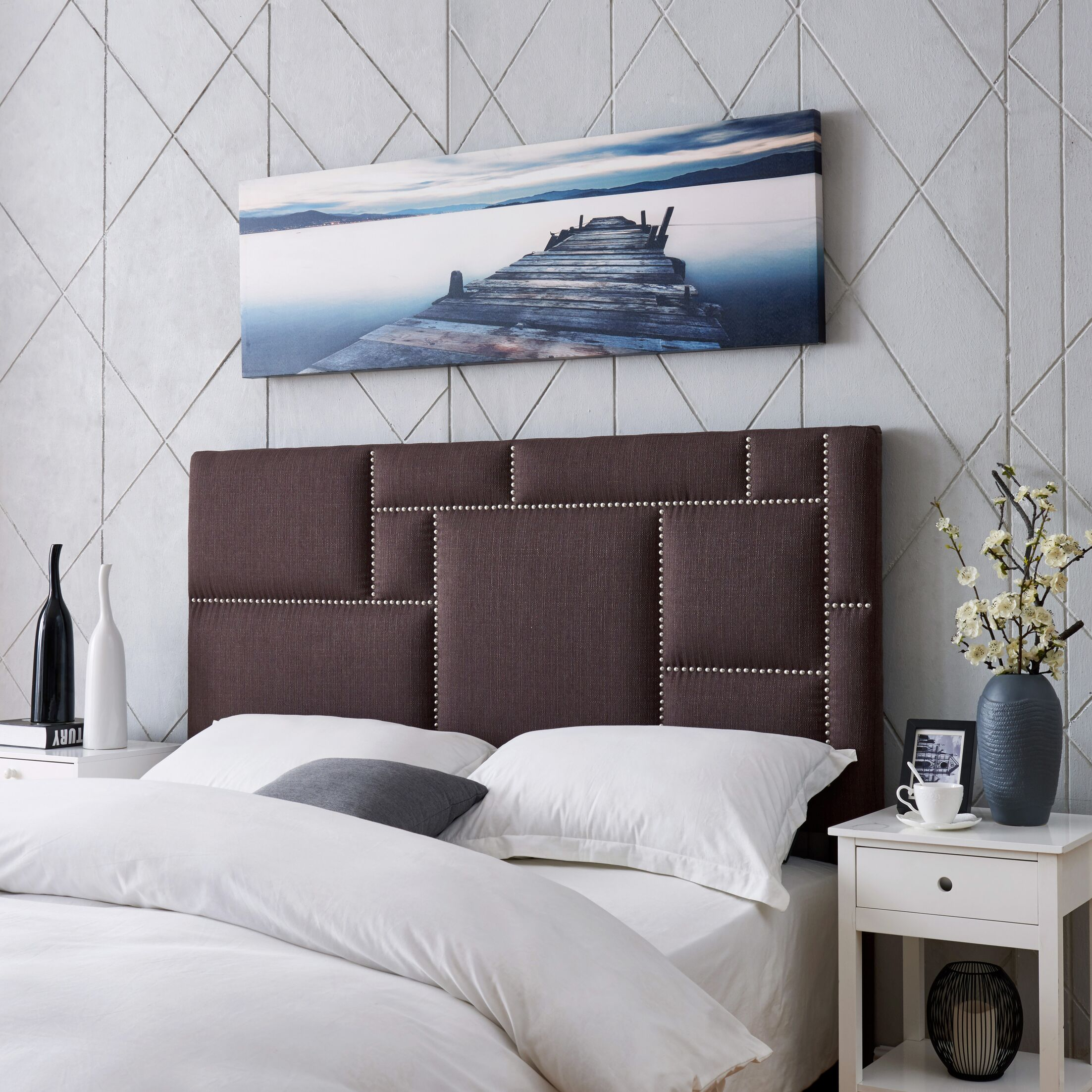 Kerner Upholstered Panel Headboard Size: Full/Queen, Upholstery: Brown