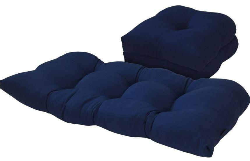 Solid 3 Piece Outdoor Loveseat/Sofa Cushion Set Fabric: Navy