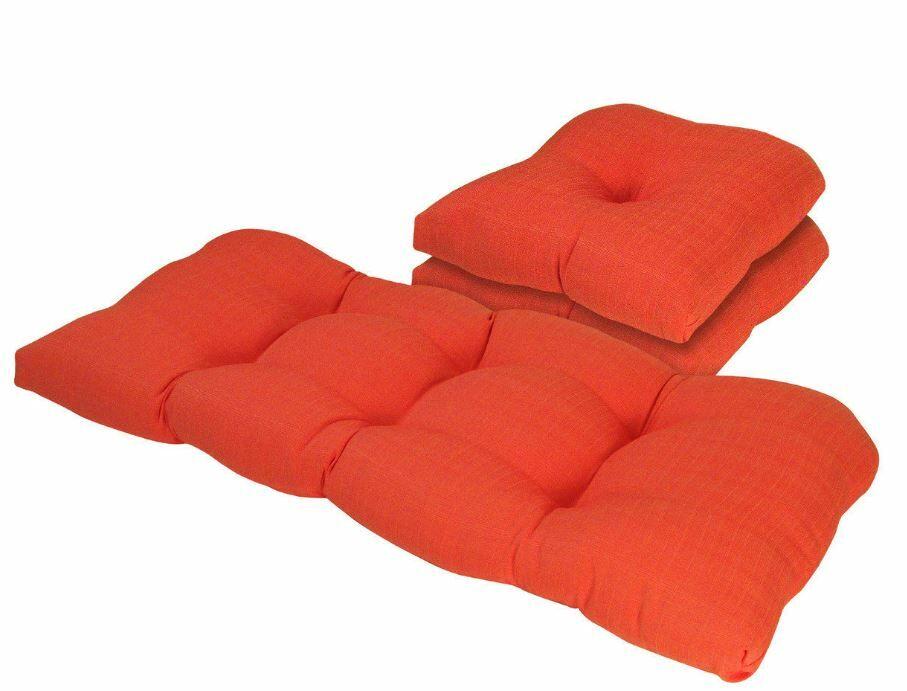 Solid 3 Piece Outdoor Loveseat/Sofa Cushion Set Fabric: Watermelon