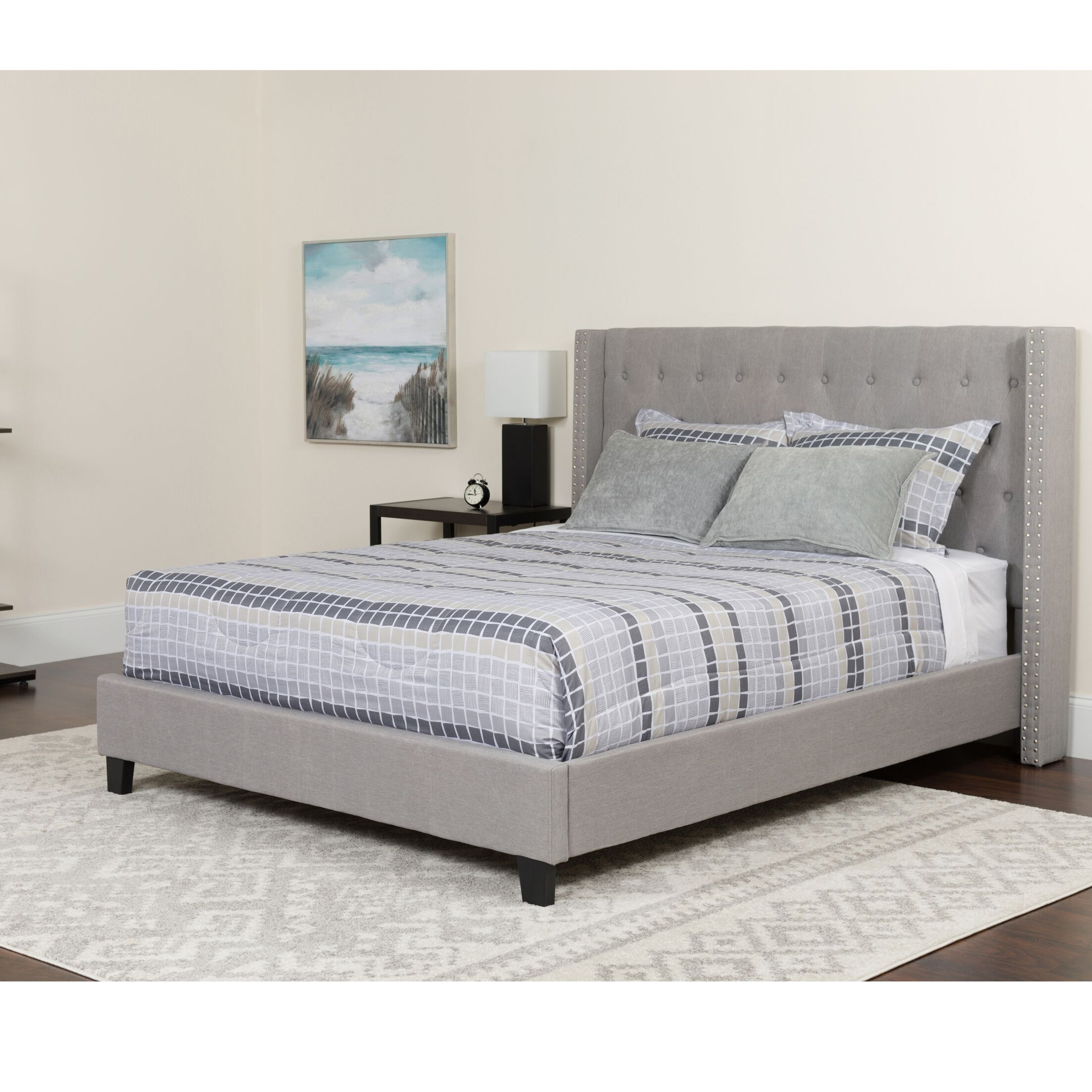 Konieczny Tufted Upholstered Platform Bed With Mattress Size: King, Color: Light Gray