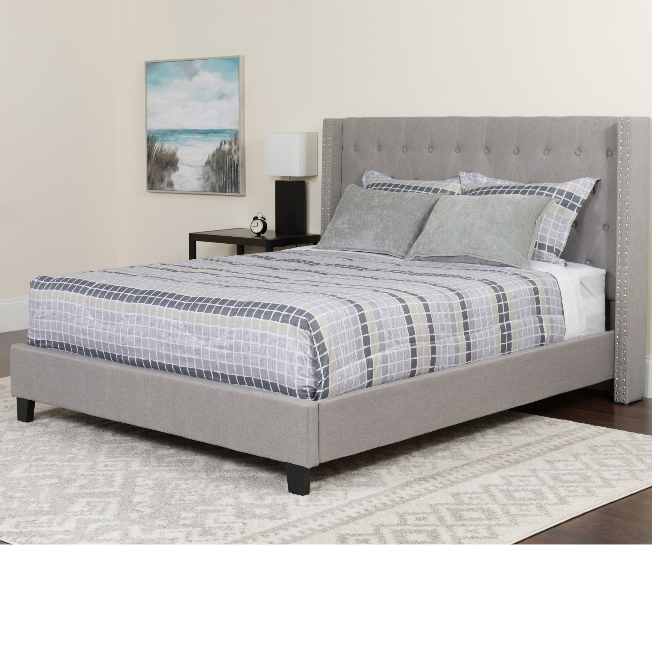 Konieczny Tufted Upholstered Platform Bed Size: Full, Color: Light Gray