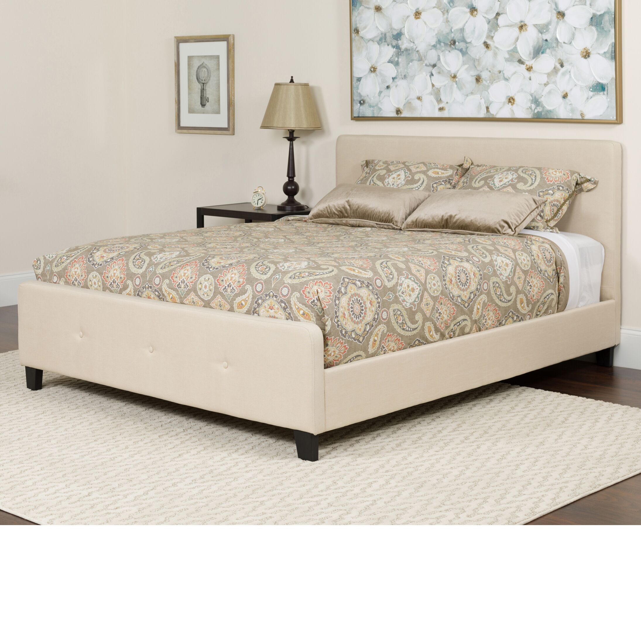 Konen Tufted Upholstered Platform Bed With Mattress Color: Beige, Size: King