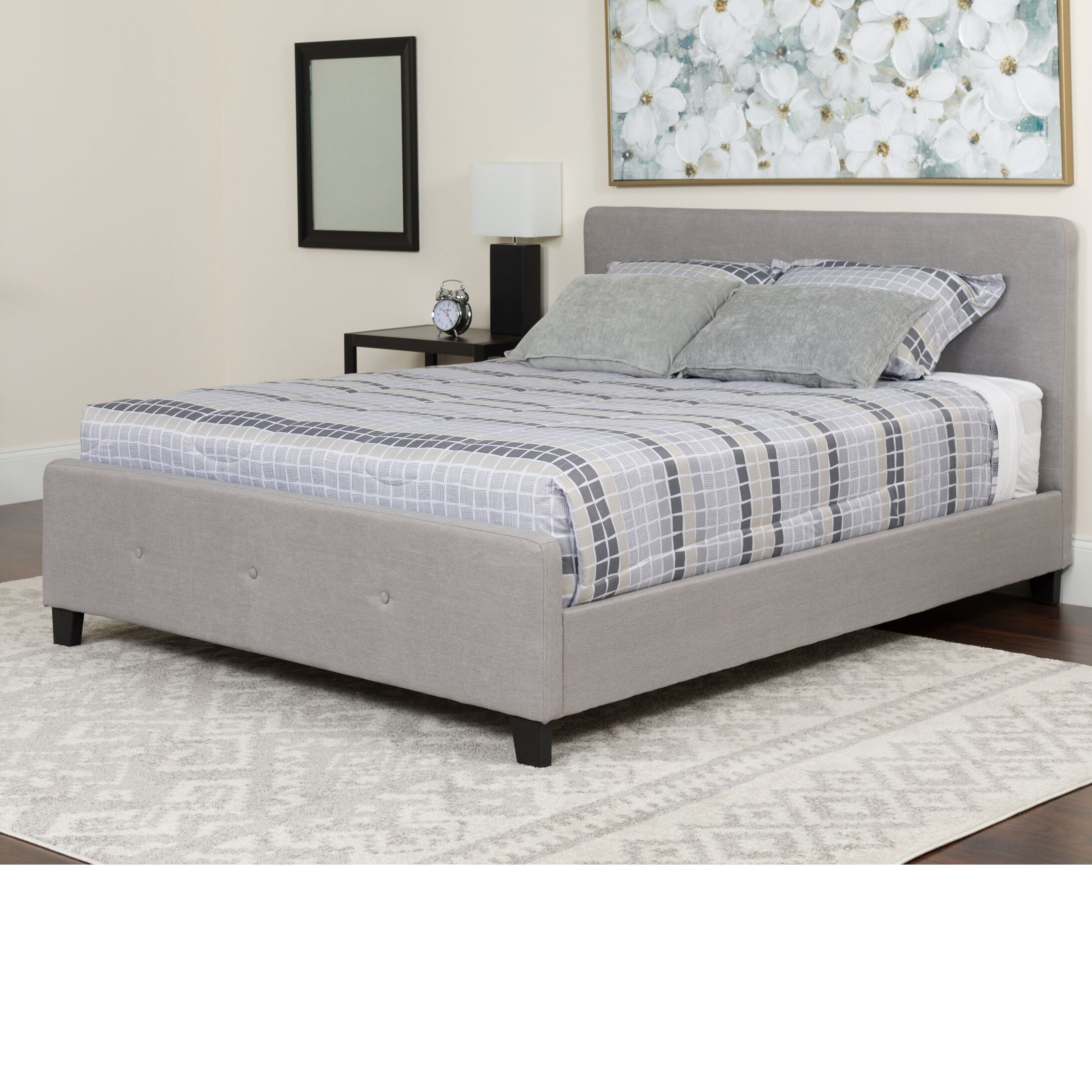 Konen Tufted Upholstered Platform Bed With Mattress Color: Light Gray, Size: Queen