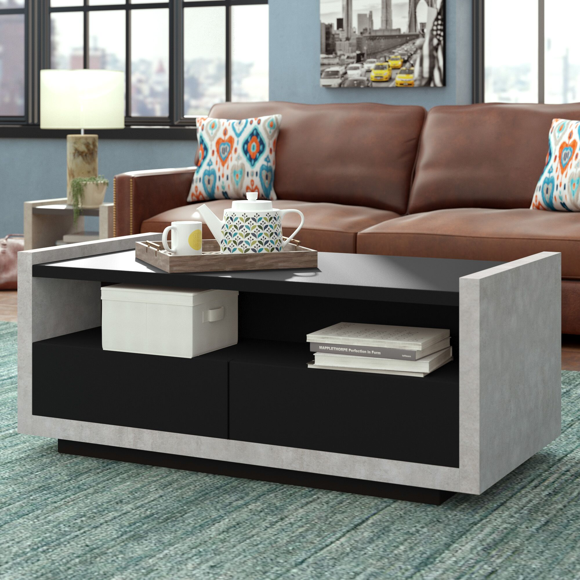 Luzerne Contemporary Coffee Table with Magazine Rack Color: Black